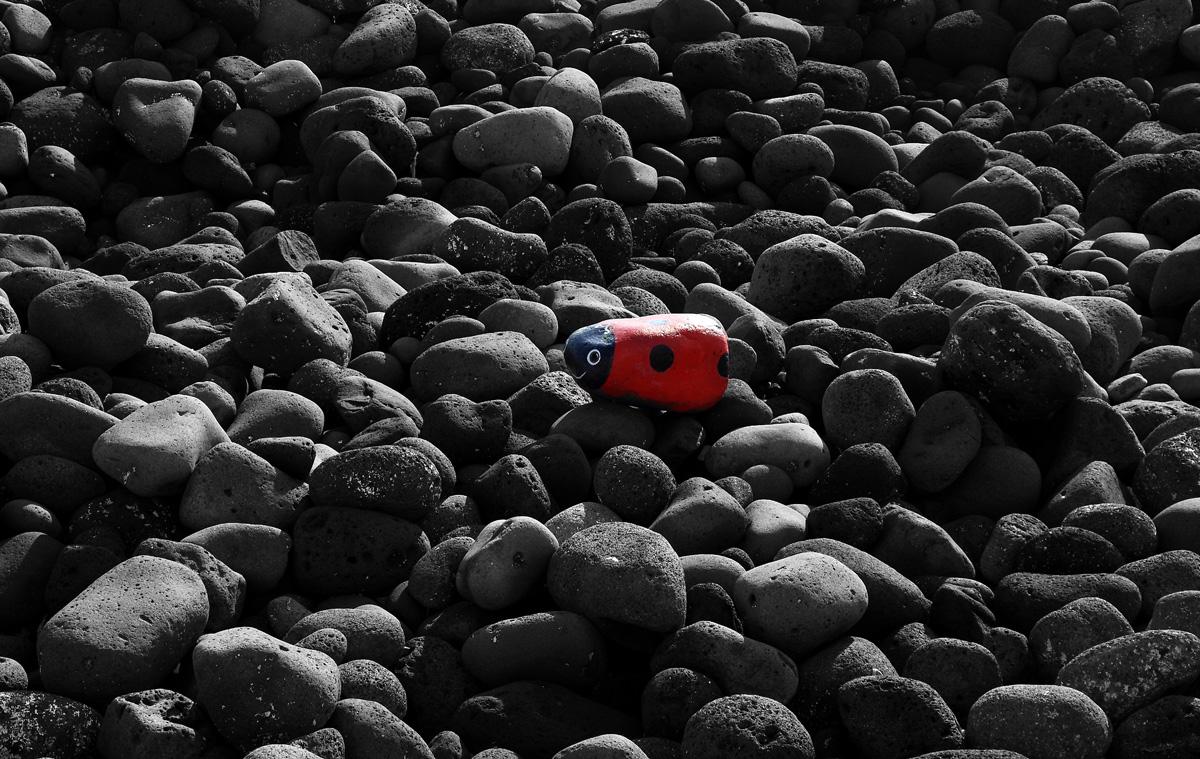 A lava rock colored...