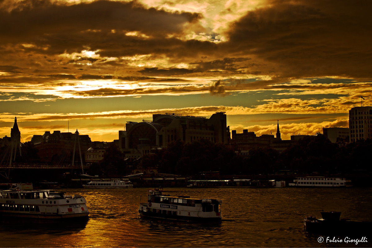 London - River Thames at sunset...