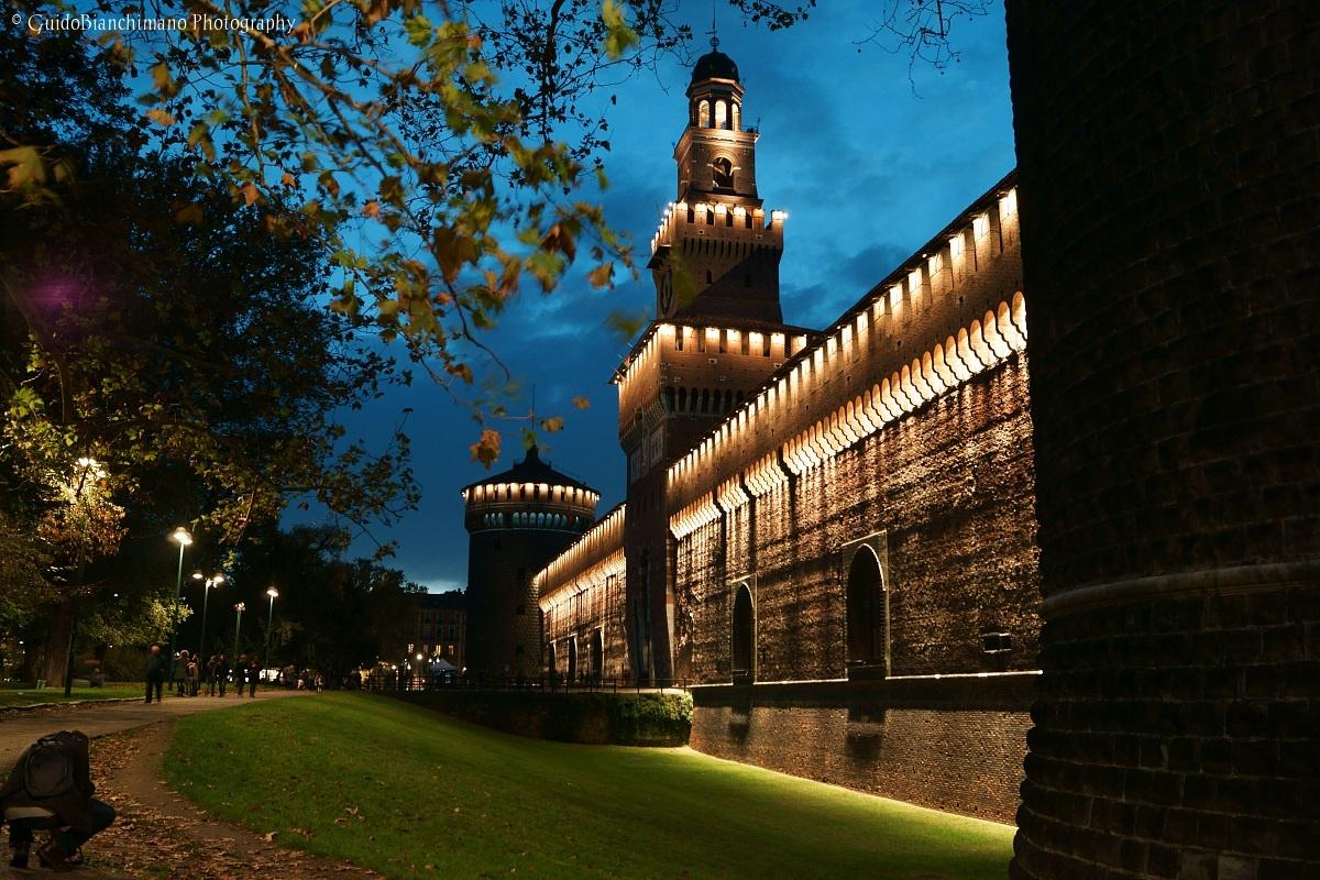 """Castello Sforzesco in Milan, the """"blue hour""""..."""