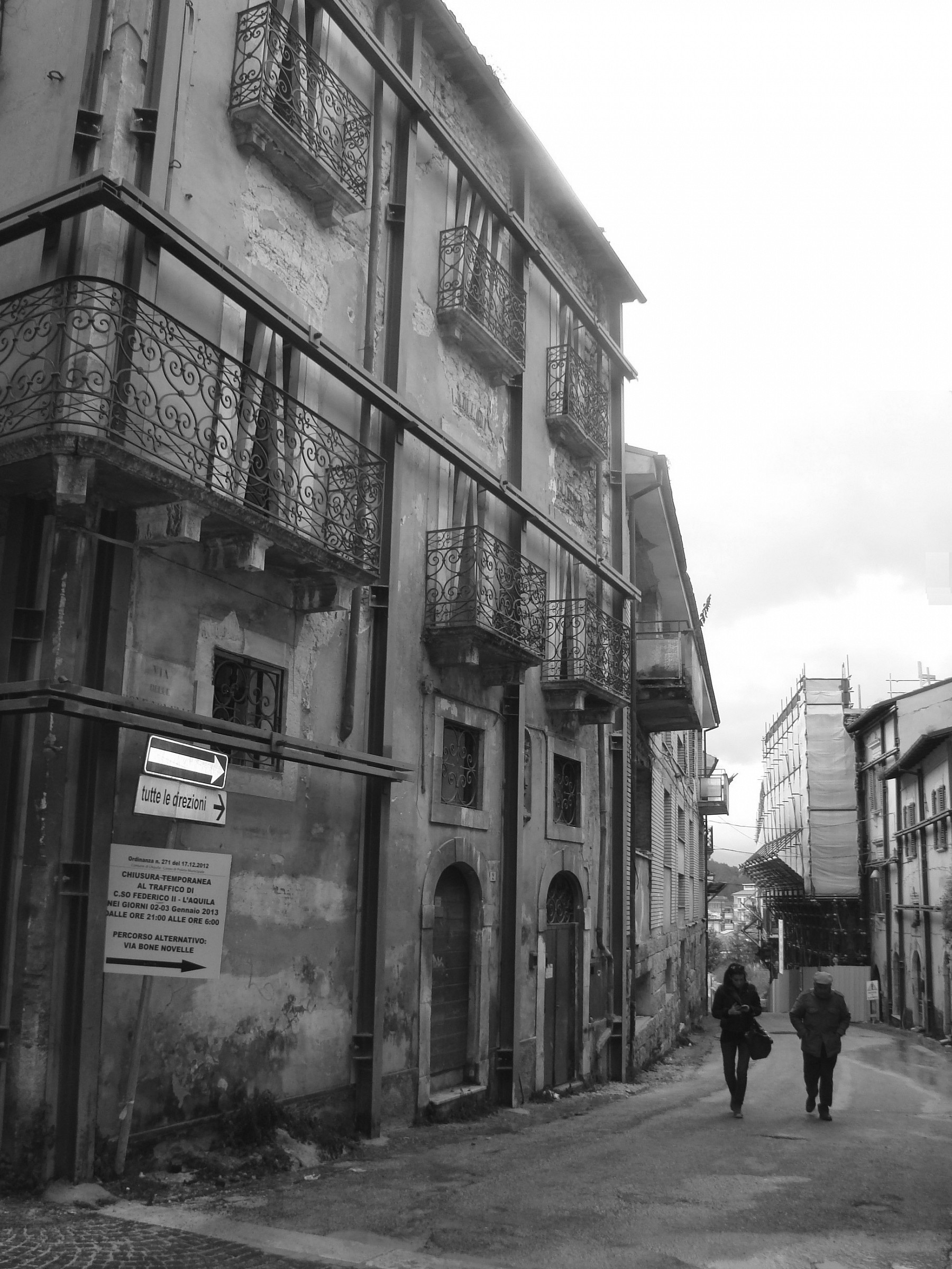 In the deserted streets ......