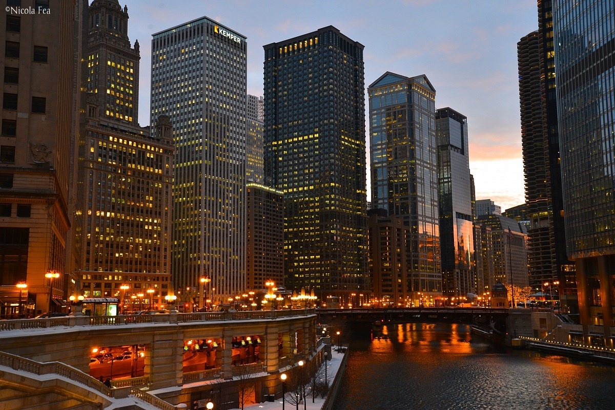 Chicago River at sunset...