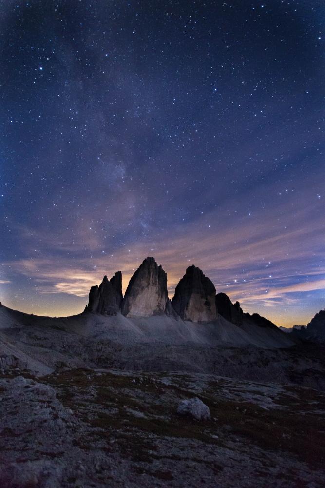At night the Three Peaks...