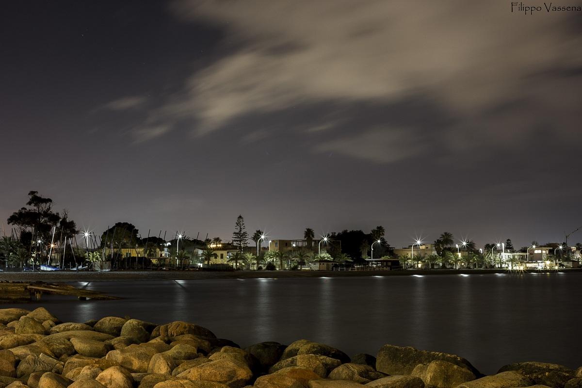 Small marina at night...