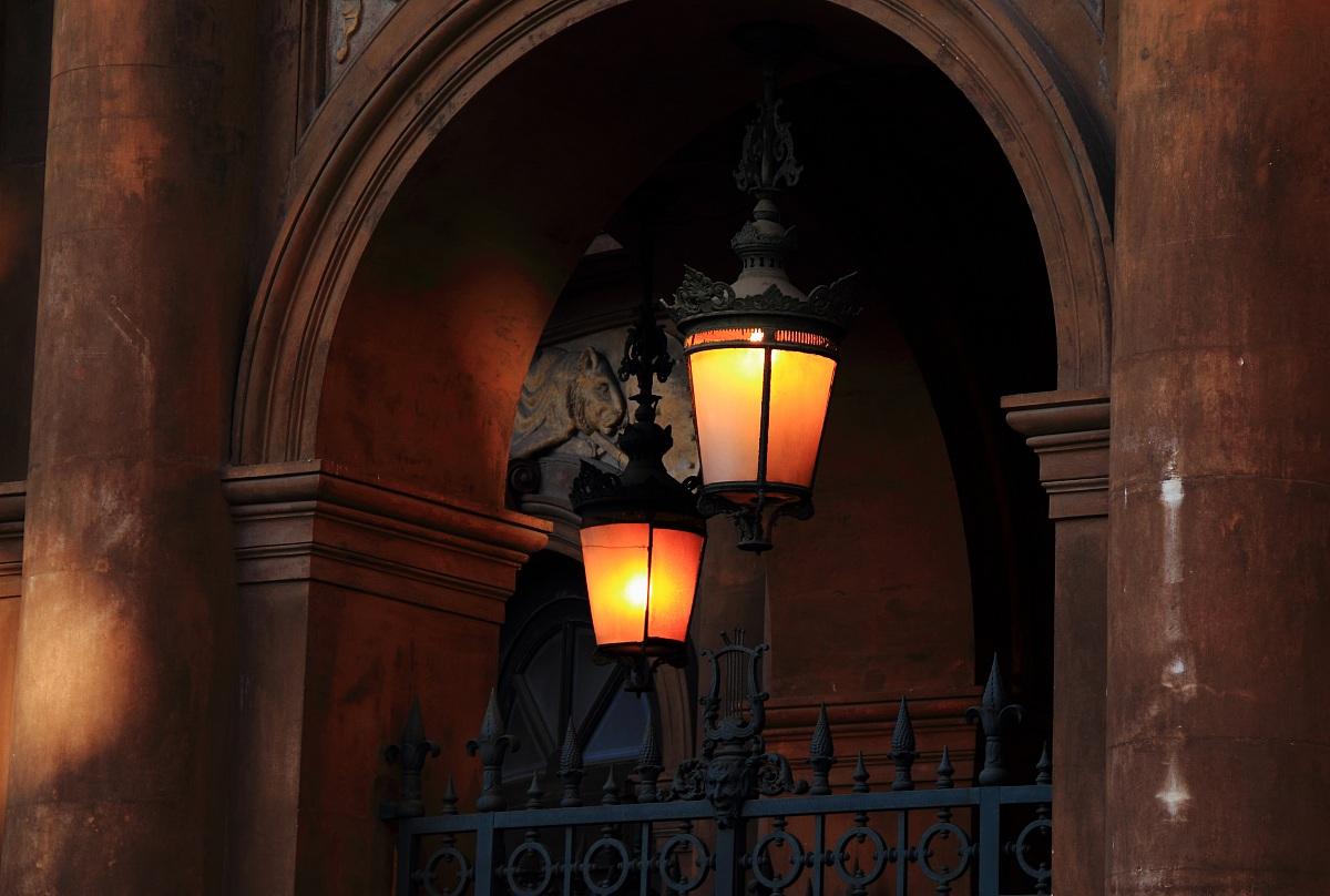 The lamps of the Teatro Massimo Bellini...
