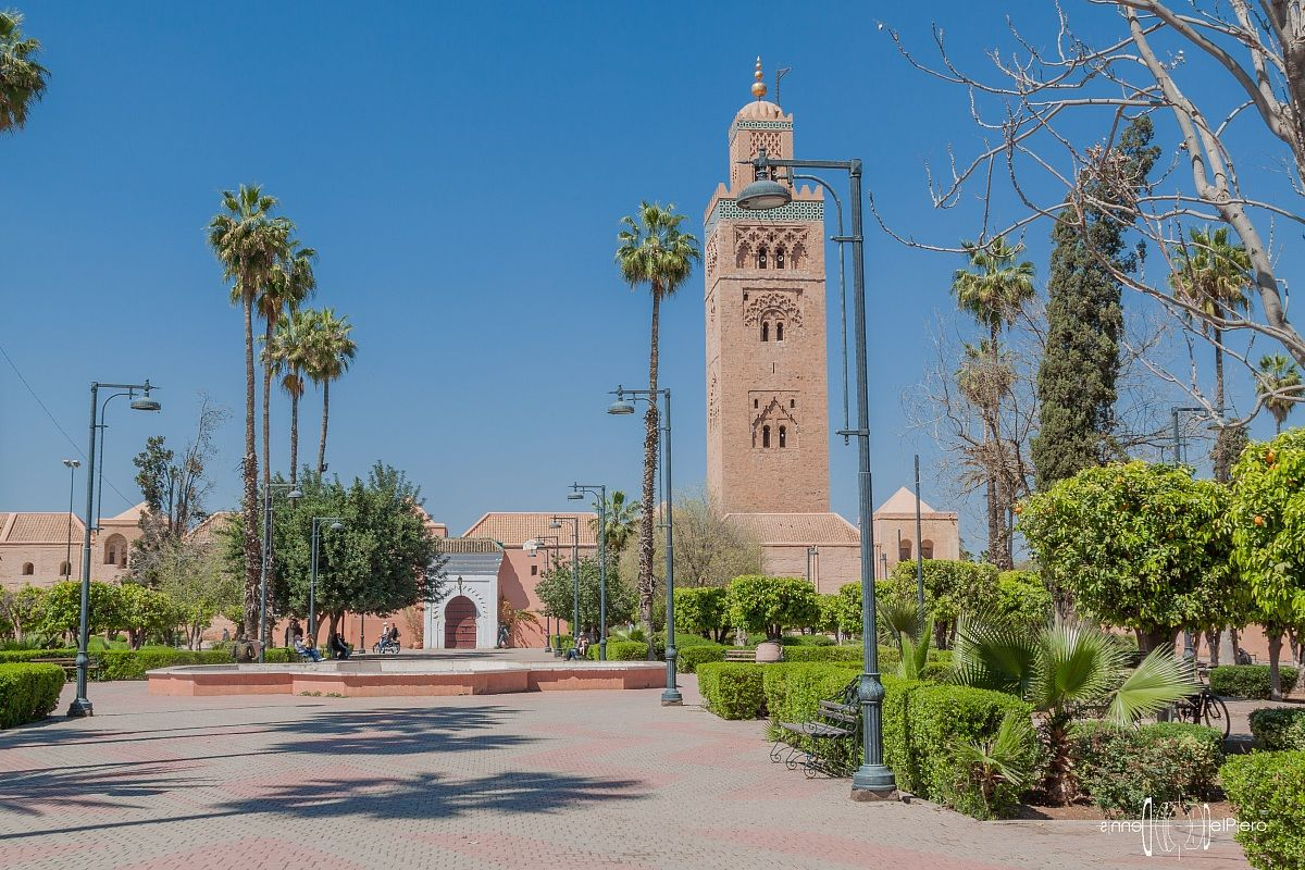 Marrakech - Giardini della moschea della Koutoubia...