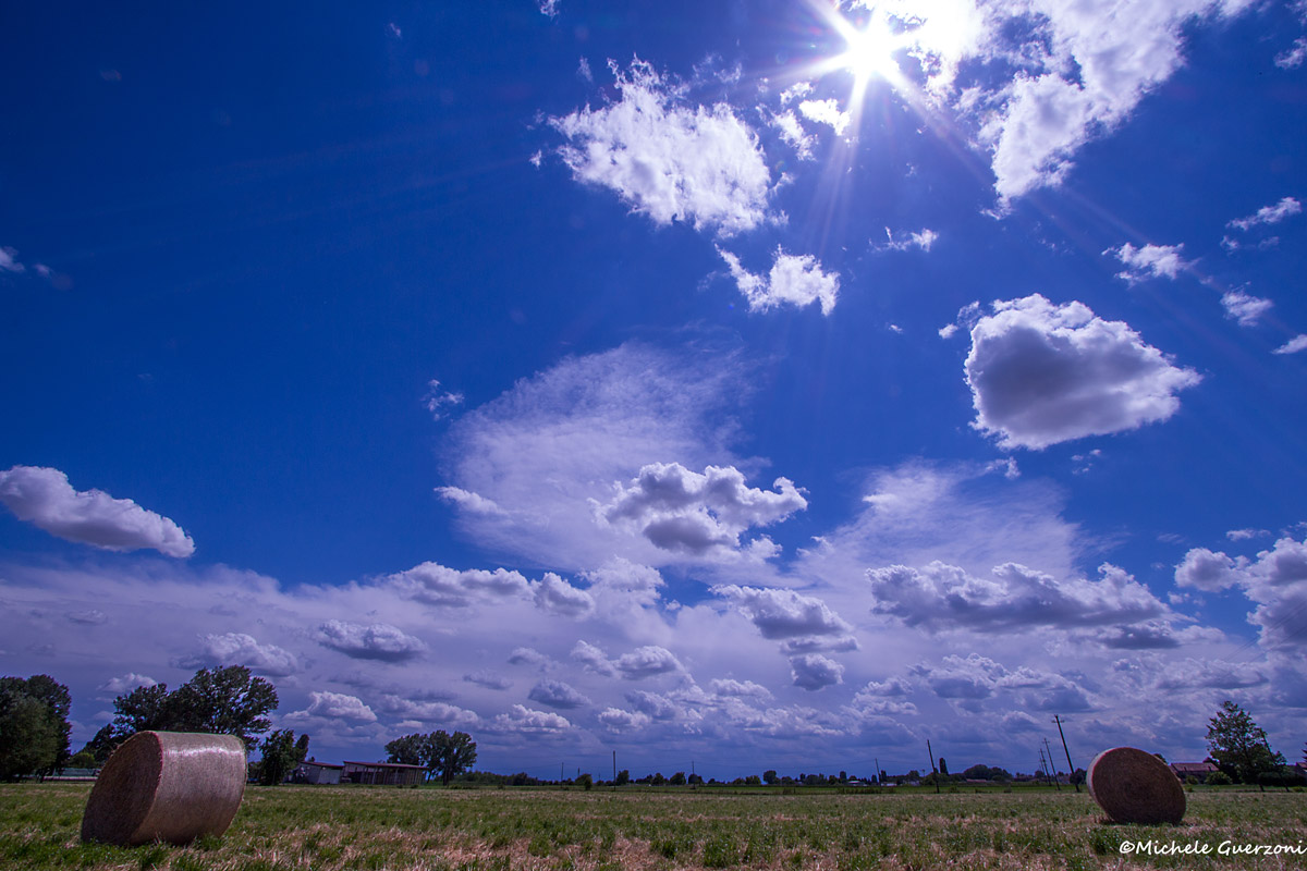 Clouds and hay...