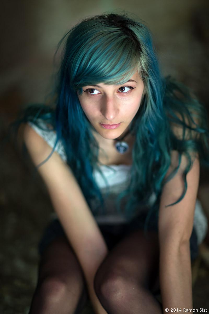 Green hair lady...