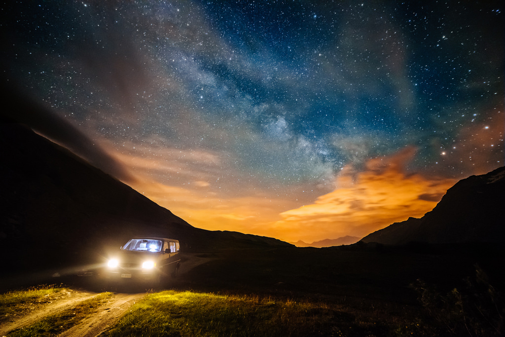 On the road, under the Milky Way...