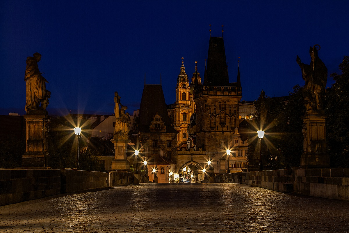 The dawn of a new day on the Charles Bridge....