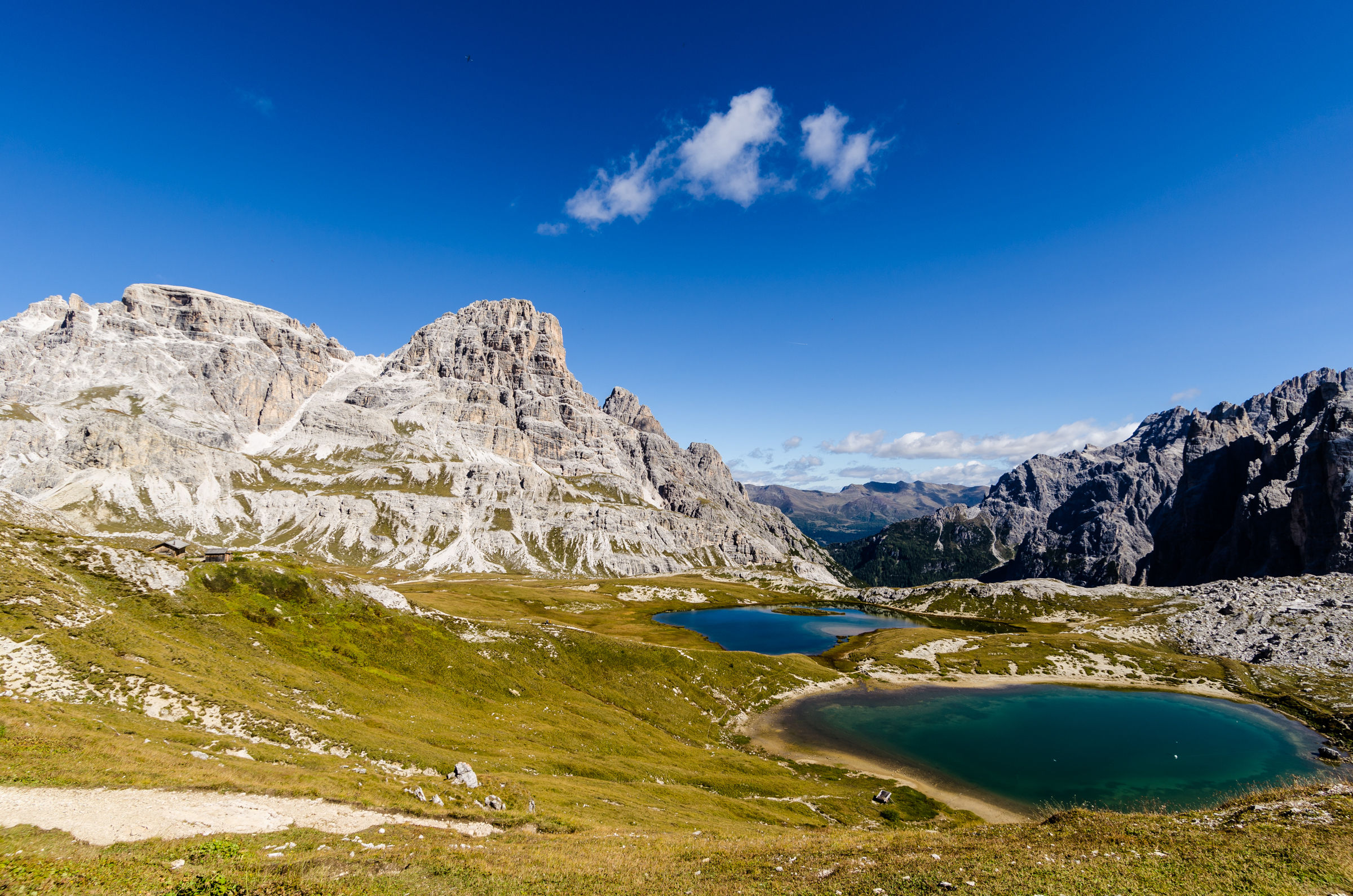 The lakes of the Pian, Sesto Dolomites...