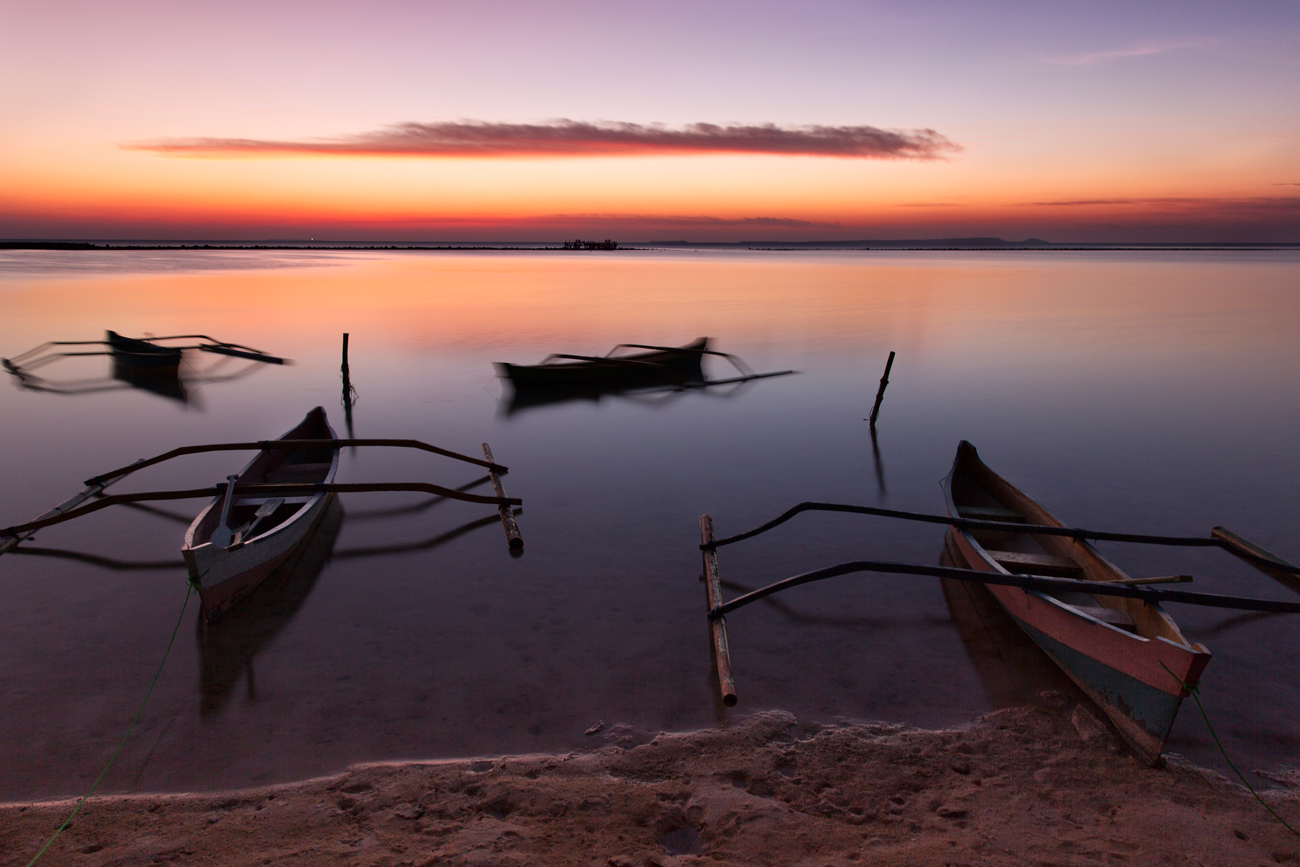 Boats at sunset on the lagoon...