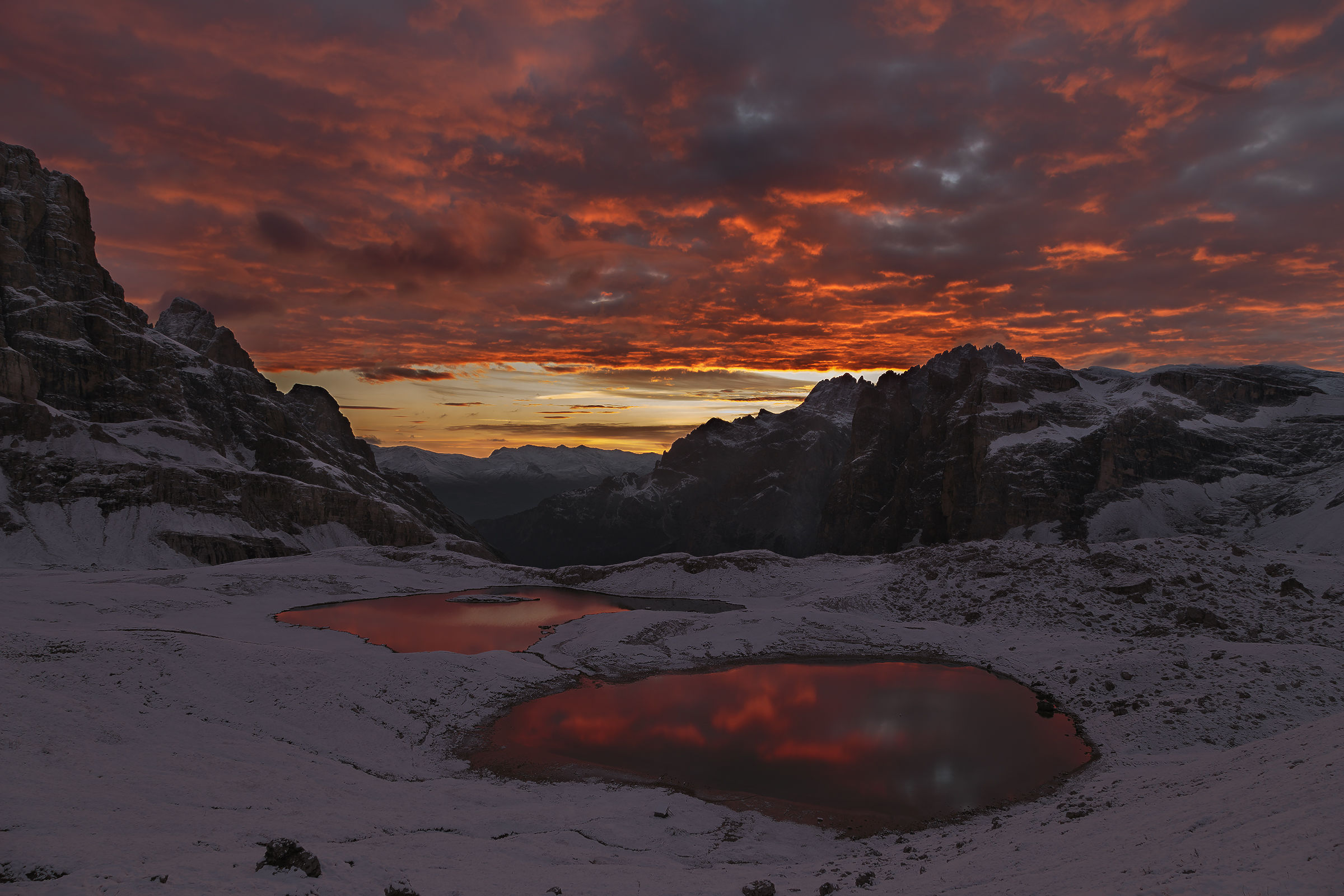Sunrise on the first snow in the Locatelli...
