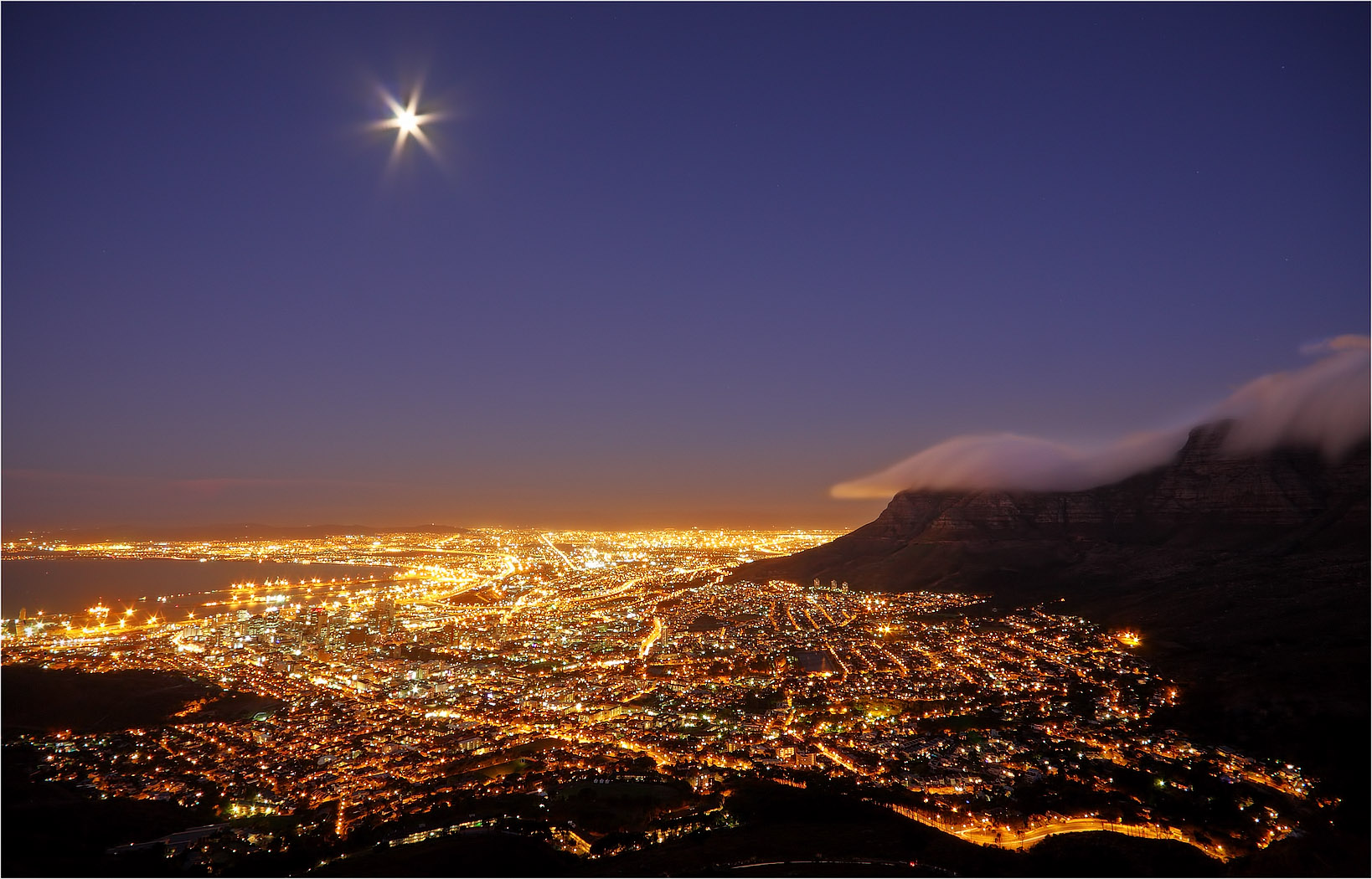 Full moon over Cape Town...