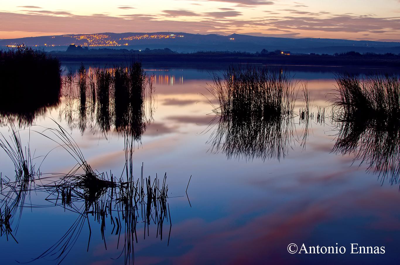 Sunrise on the lake of Platamona Sassari .......