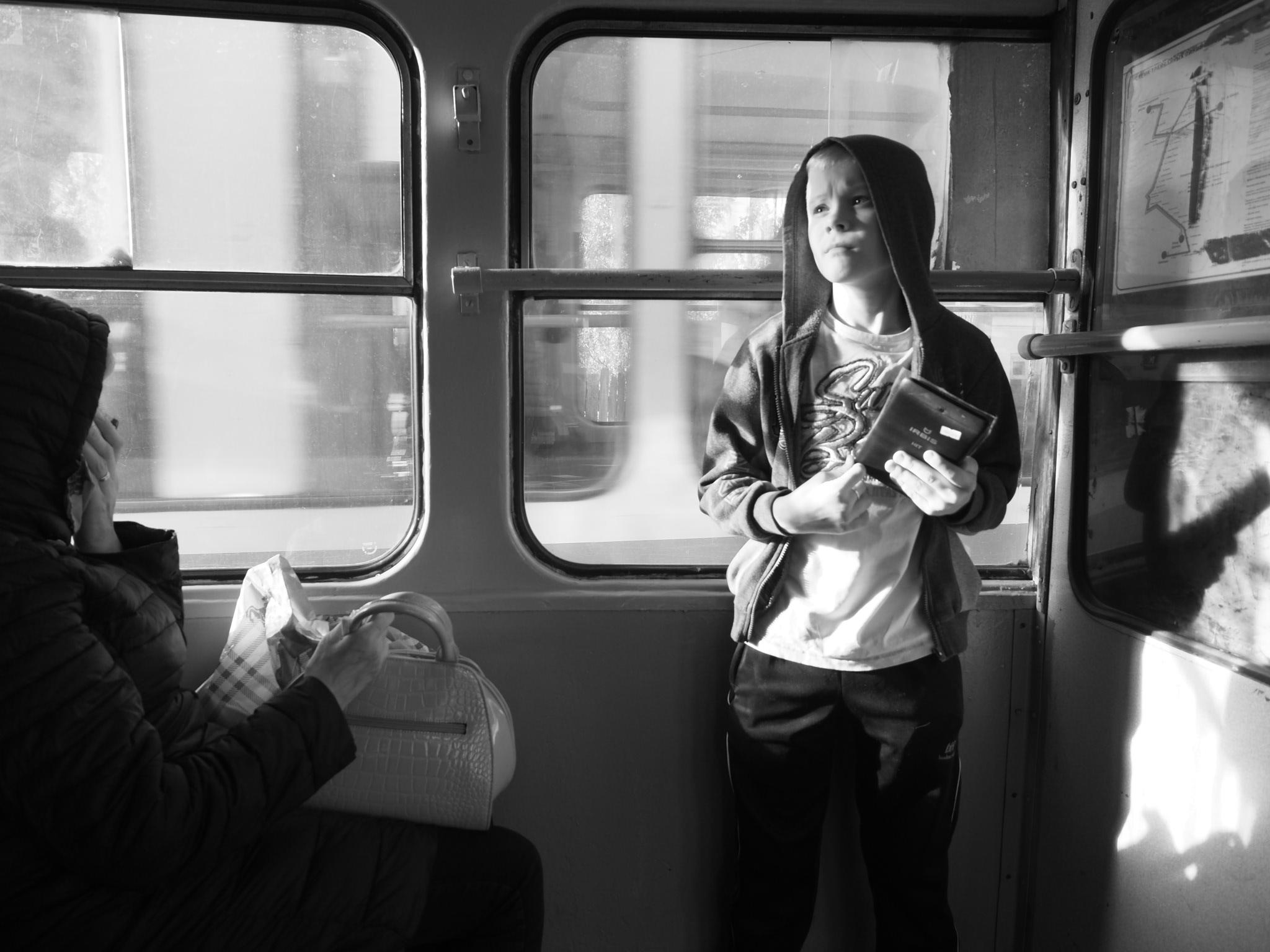 Into the tram, Russia...
