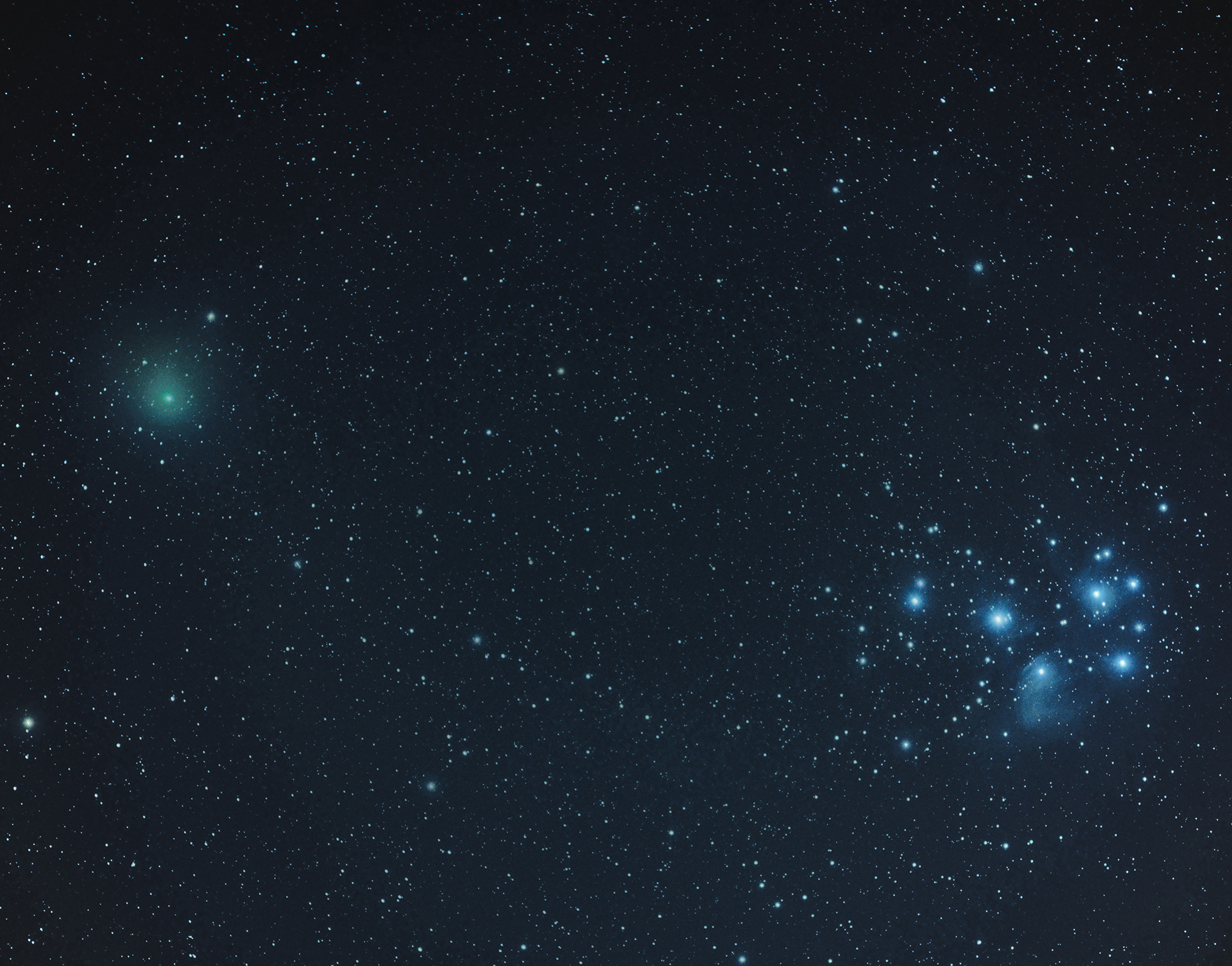 Comet 46p and the Pleiades...