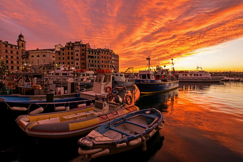 A magical sunset in Camogli...