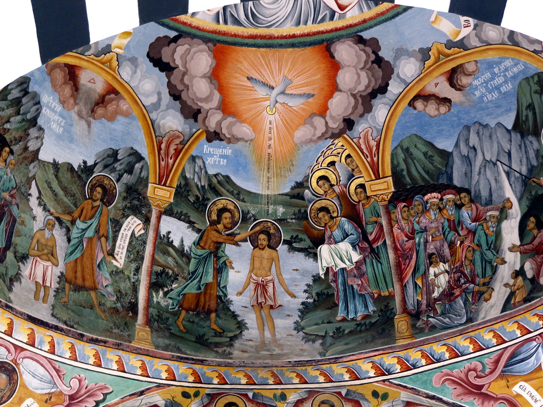 Mural, Rila Monastery, Bulgaria...