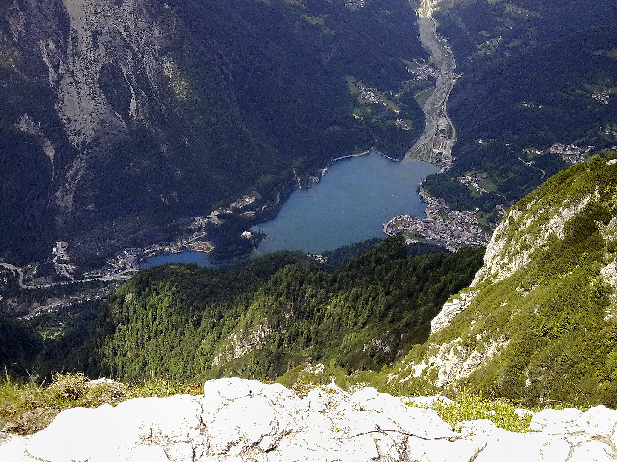 The lake of Alleghe seen from the refuge Tissi 2,250 m....