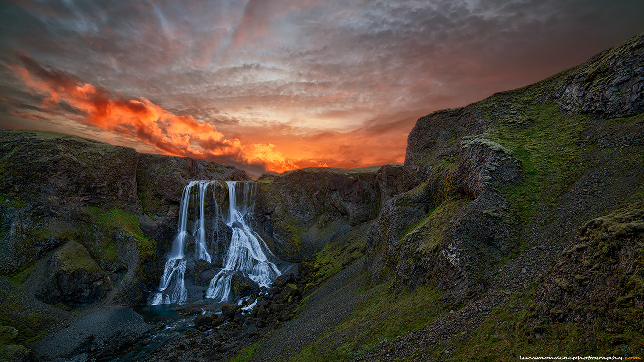 Fagrifoss falls sunset...