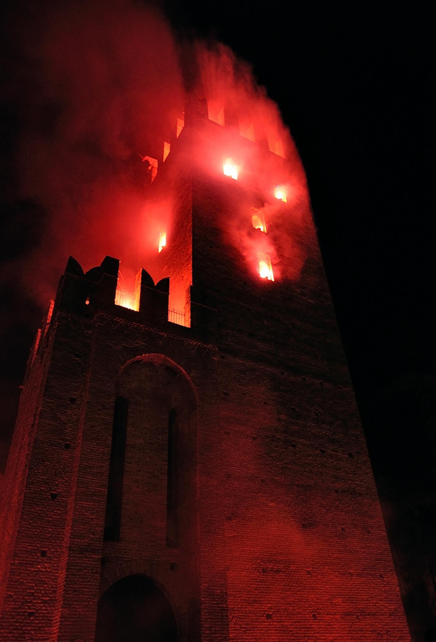 Castle in flames...