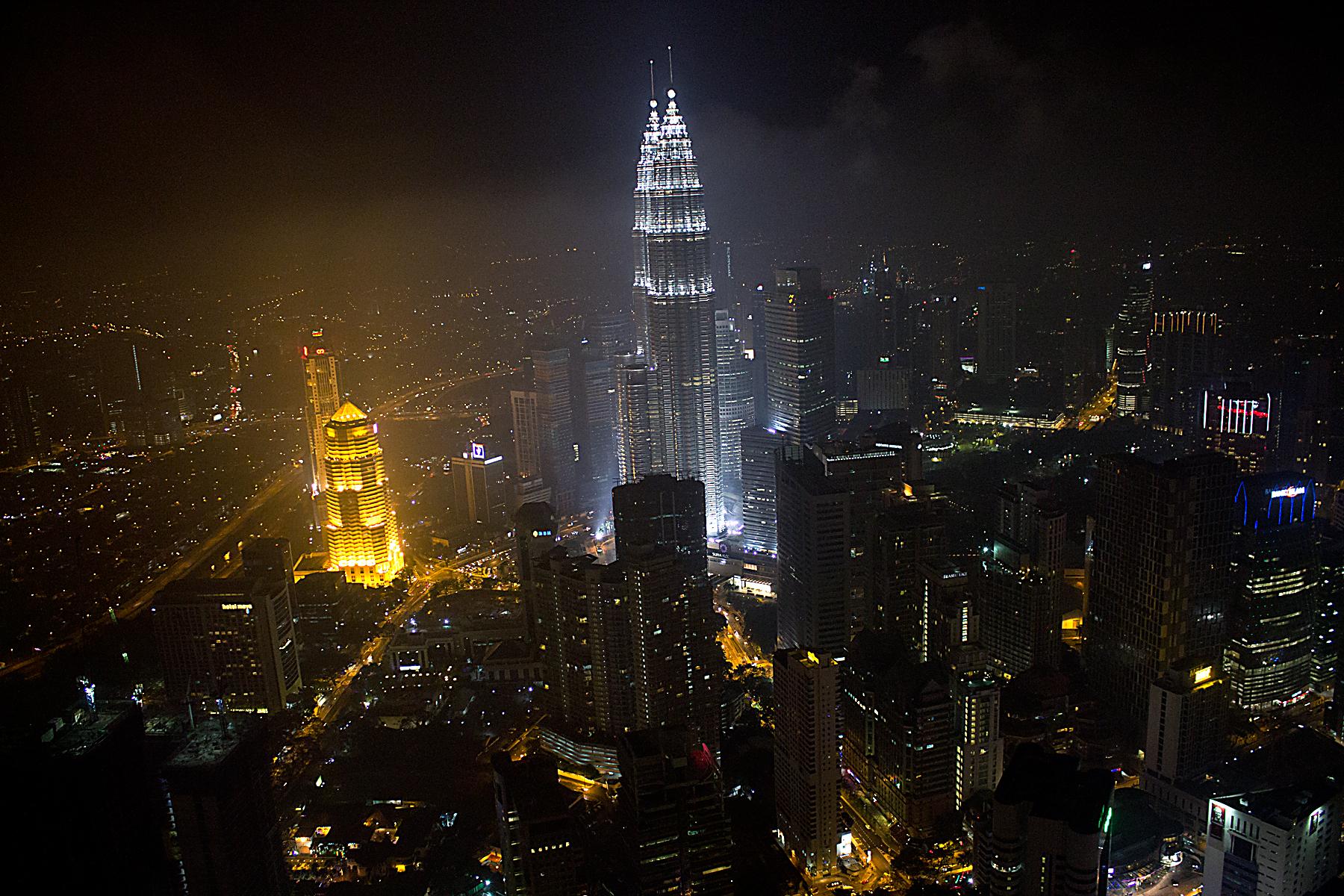 By night Kuala Lumpur...