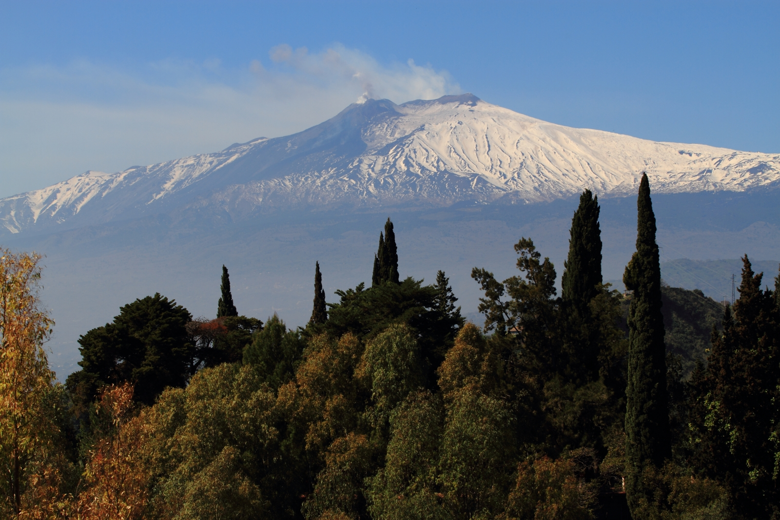 The view of Mount Etna from Taormina...