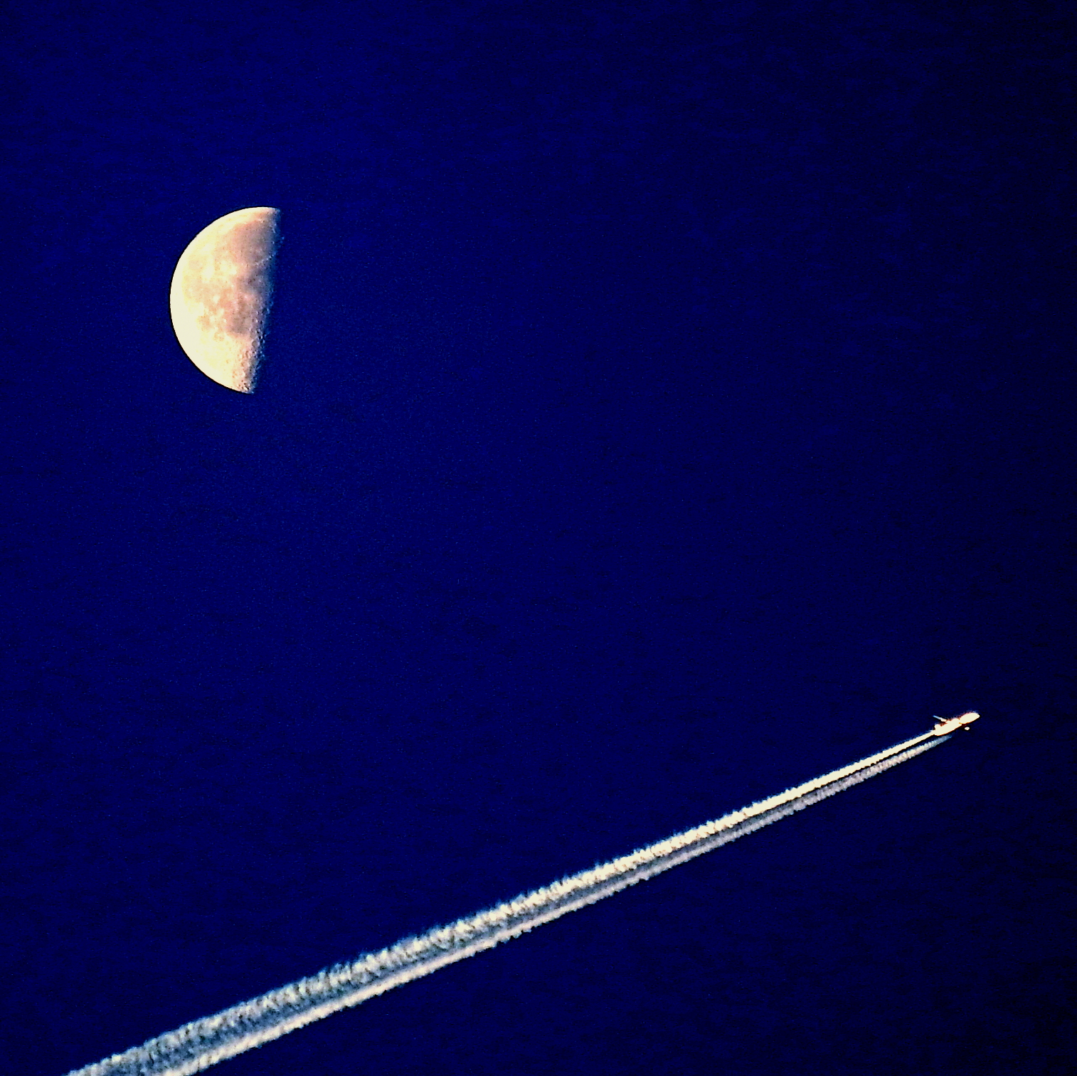 Moon and airplane in the morning...