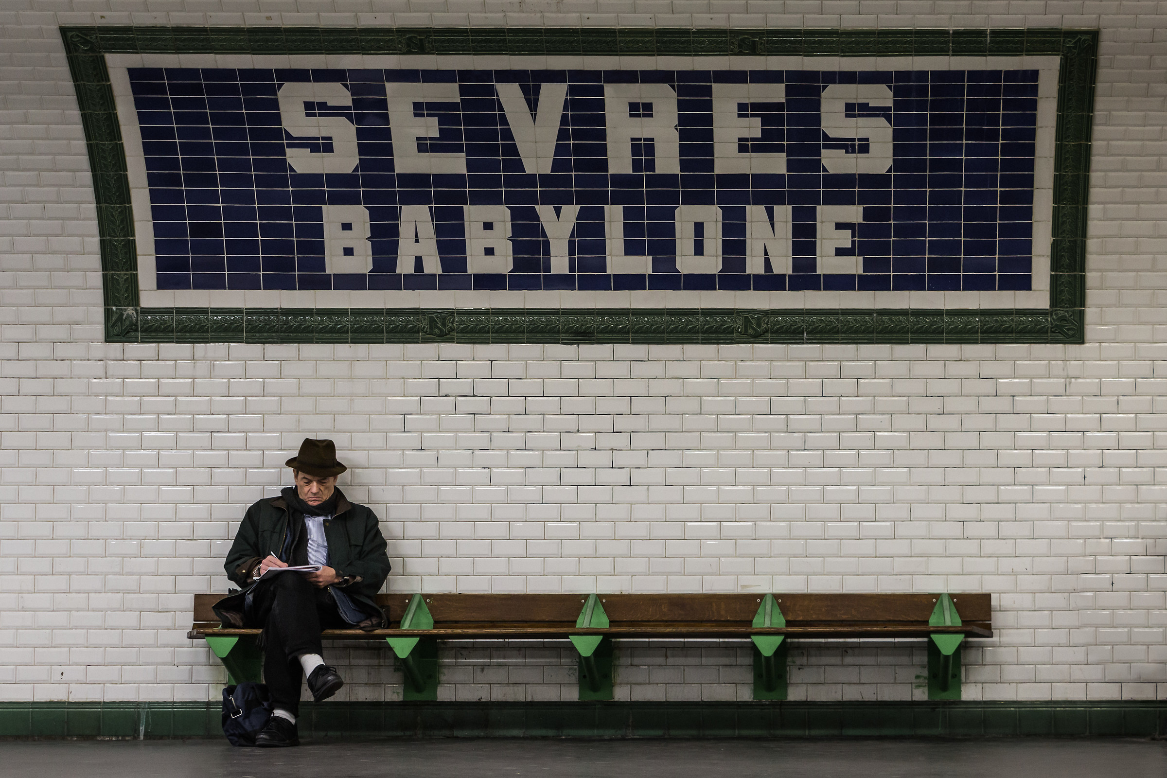 A rare moment of calm in the subway...