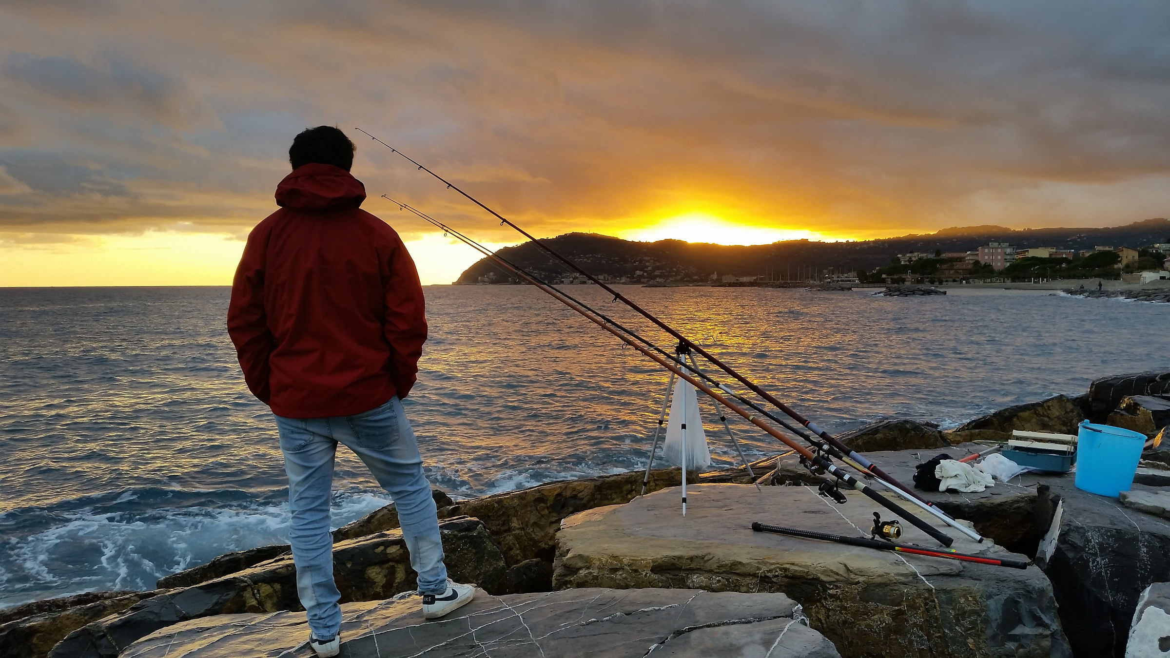 Fishing in sunset...