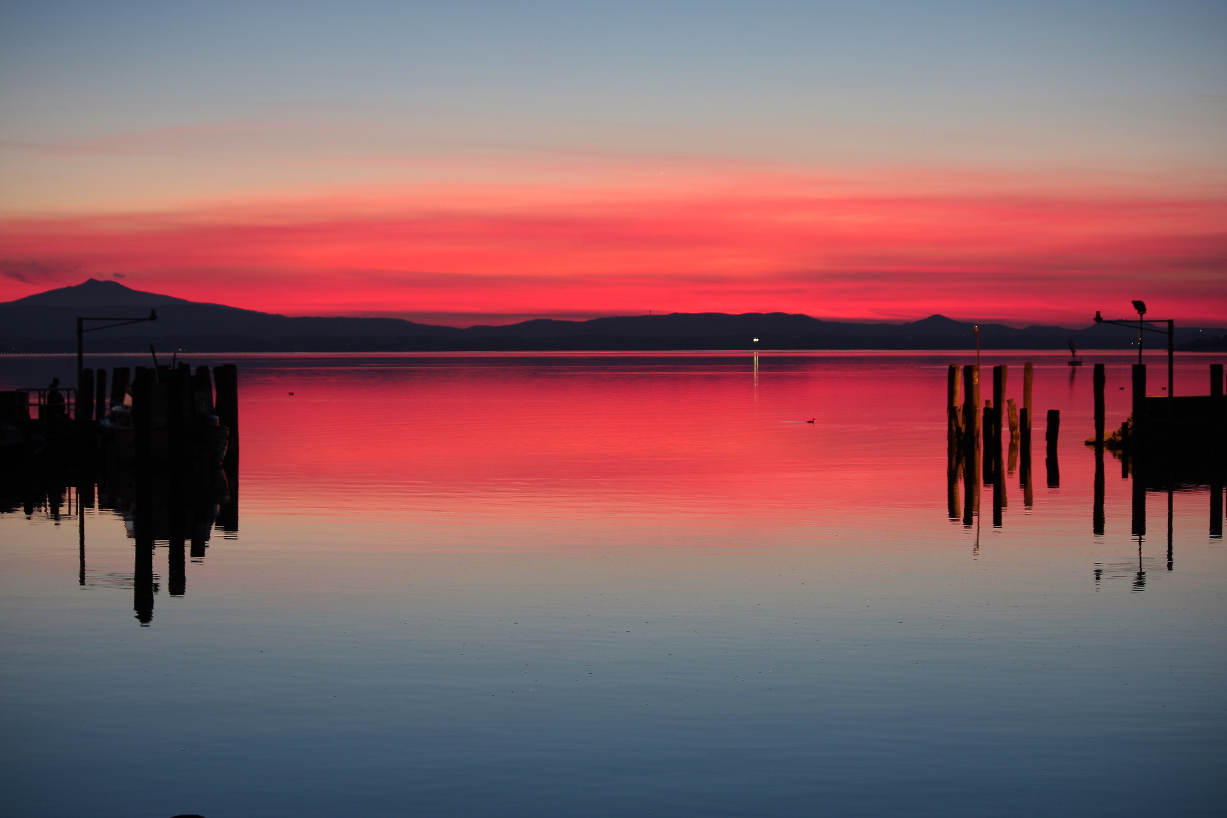 Red sunset over the Trasimeno...