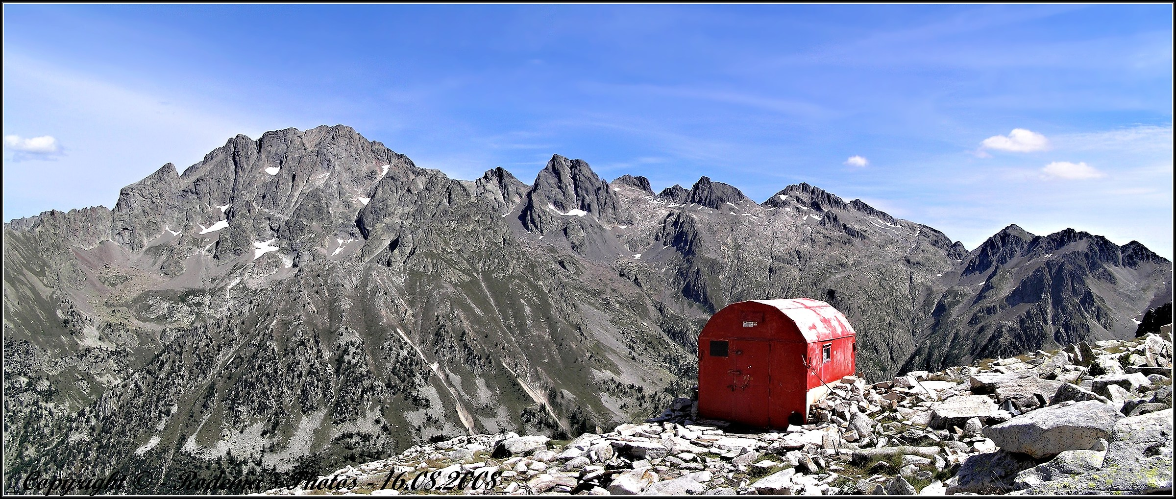 Guiglia bivouac and the background M. Argentera...