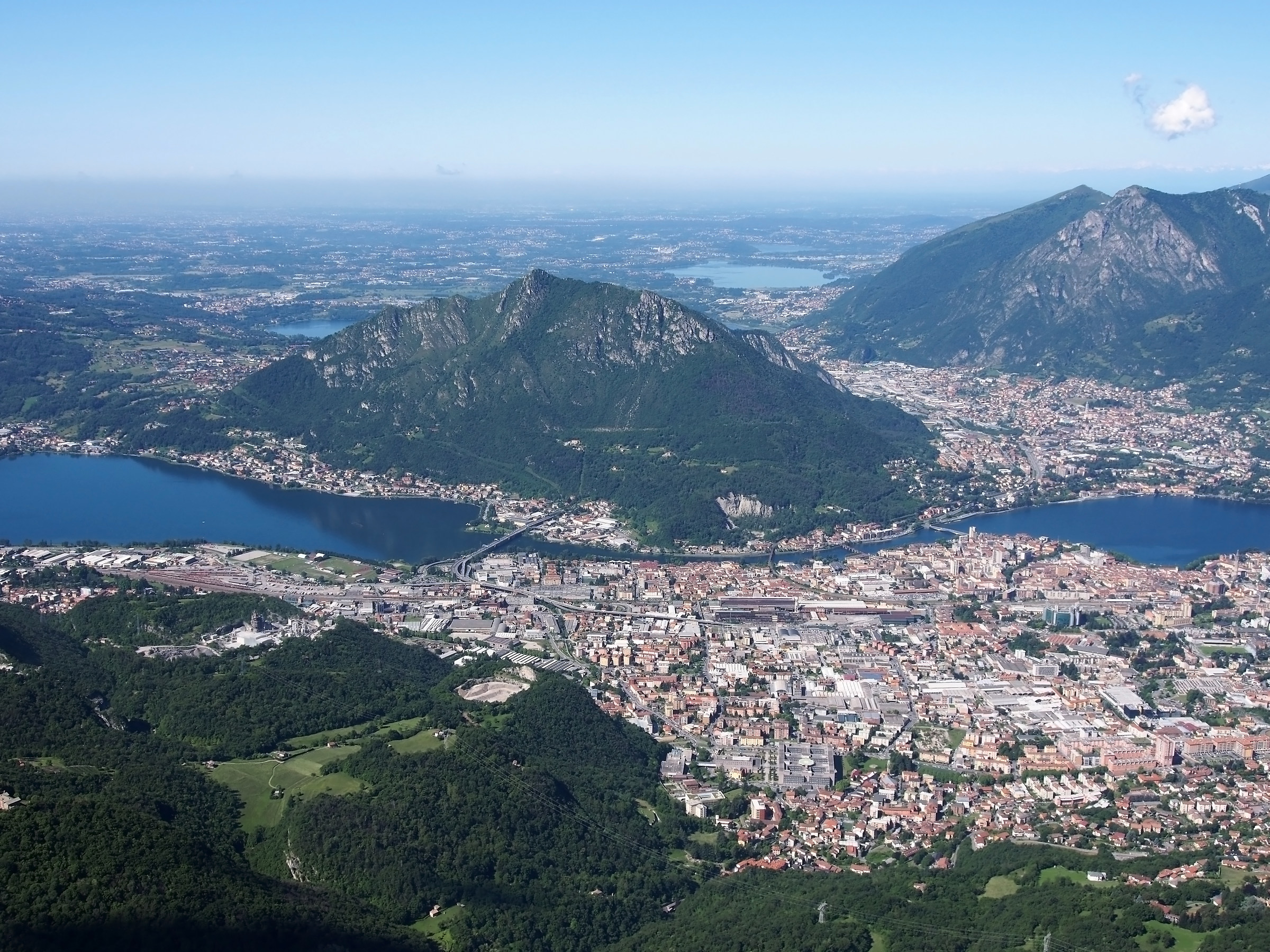 overview of the city of lecco with the lake...