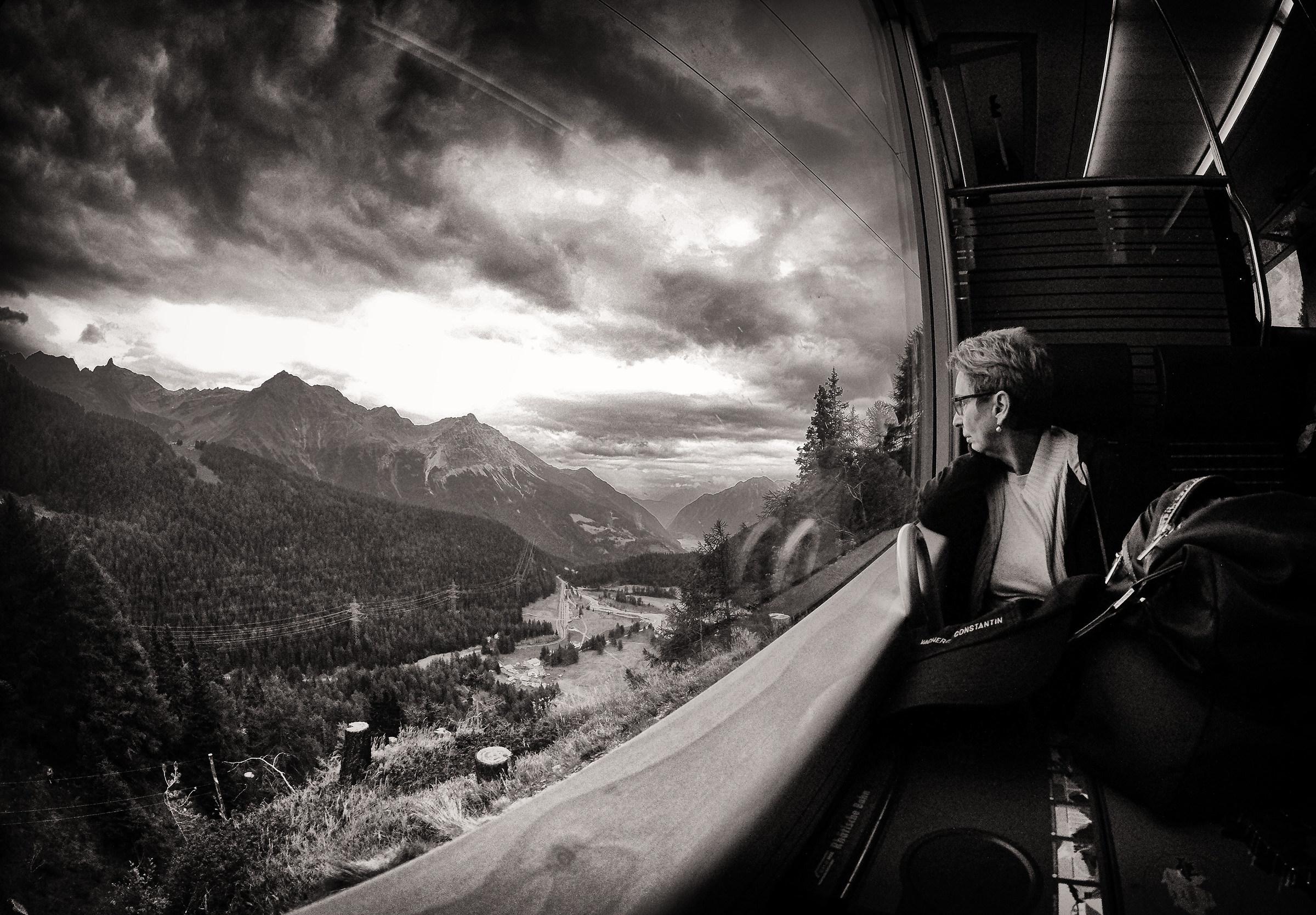 bernina express red train...