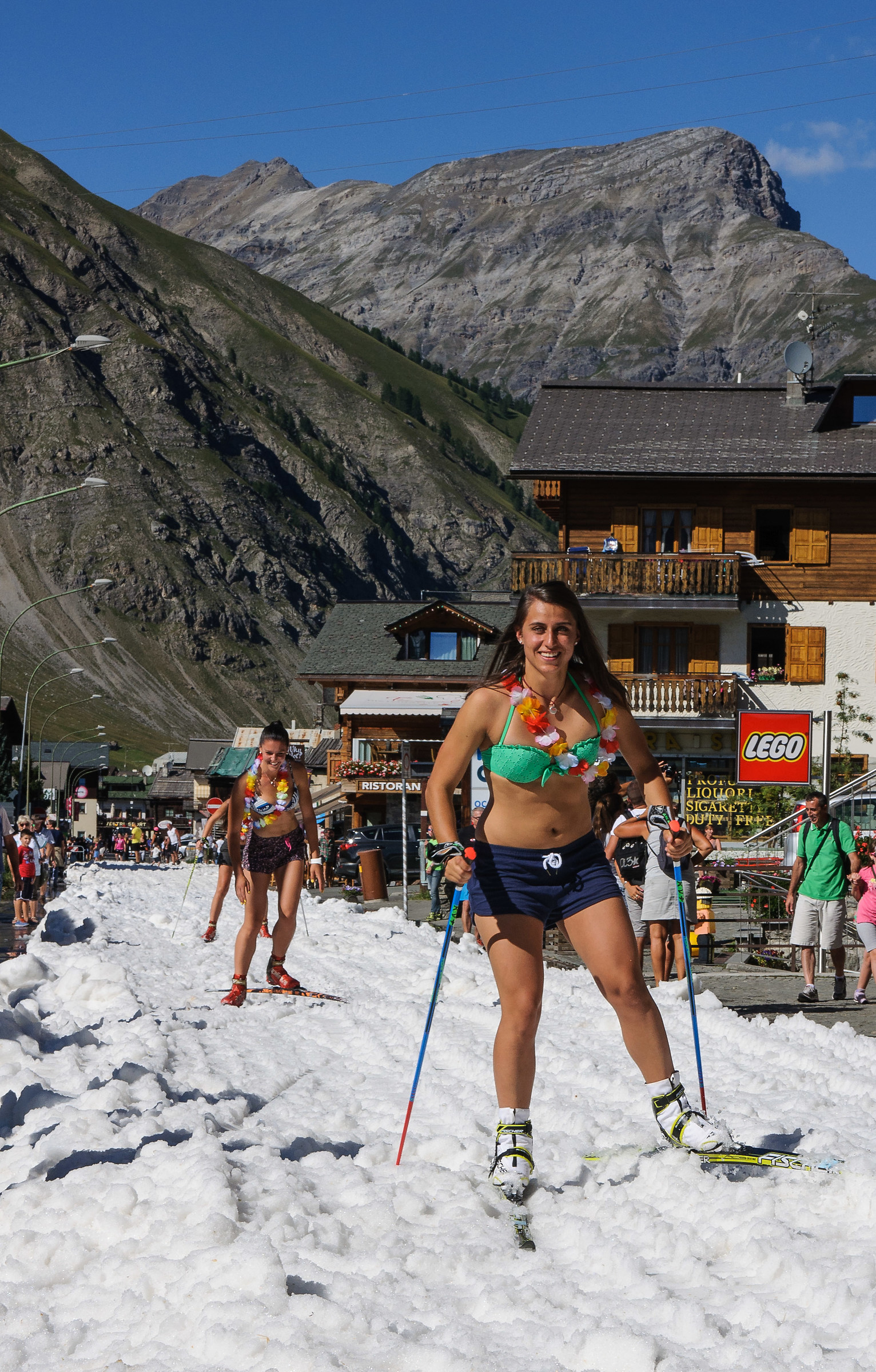 Cross-country skiing in the center of Livigno, in August 2016...