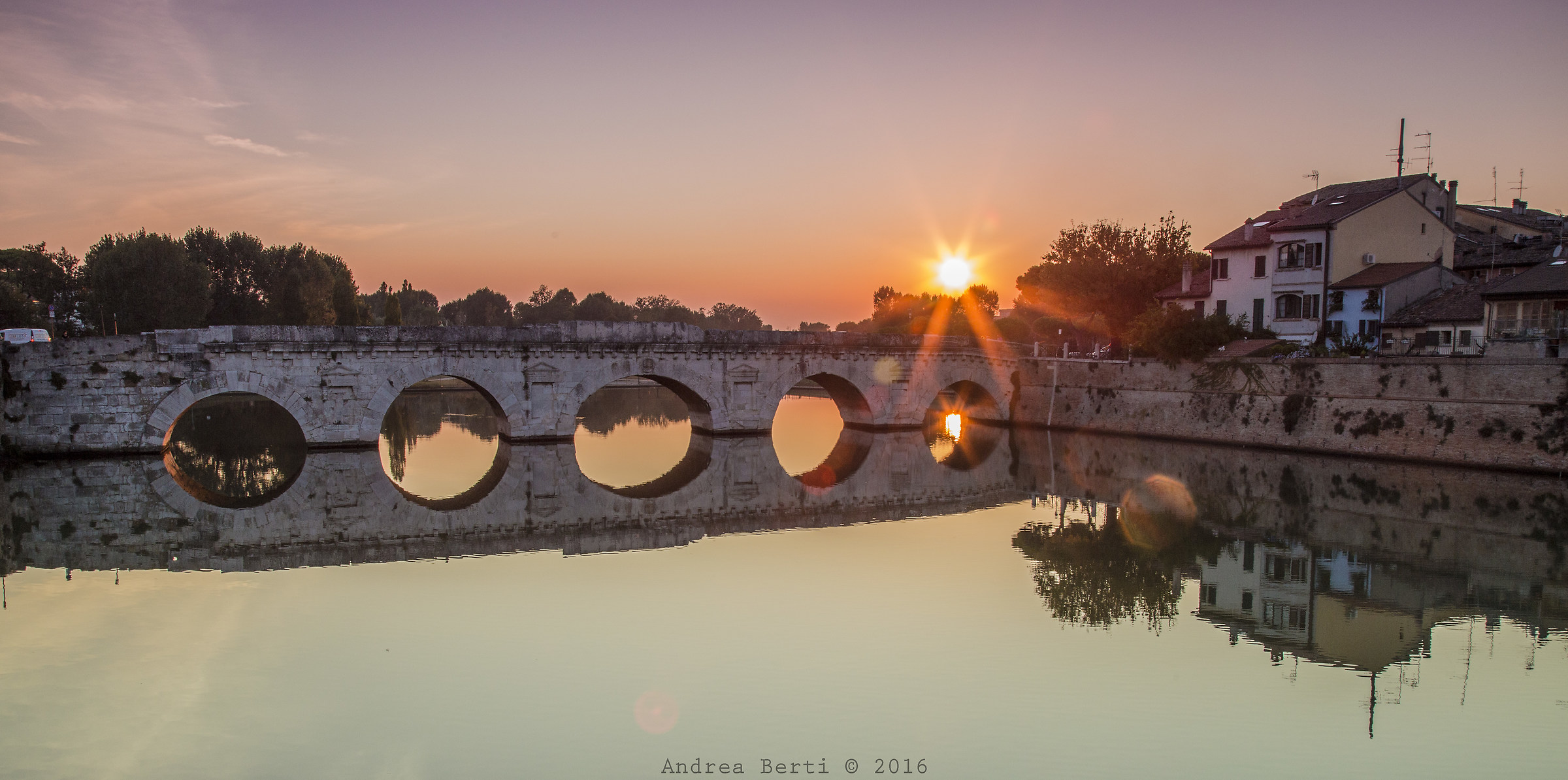 Tiberius Bridge at sunset, Rimini...