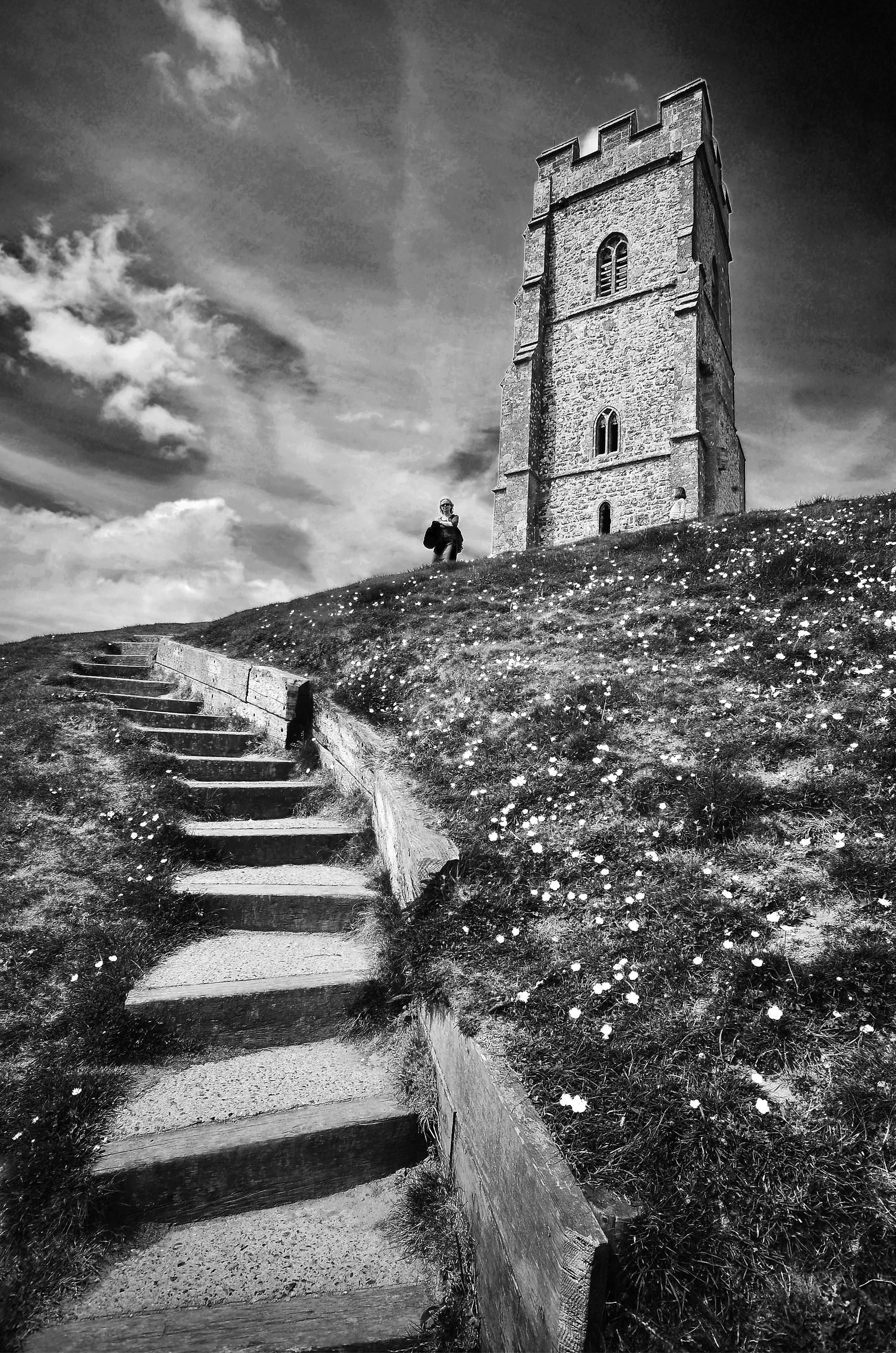 "The ""Stairway"" up to Glastonbury Tor..."