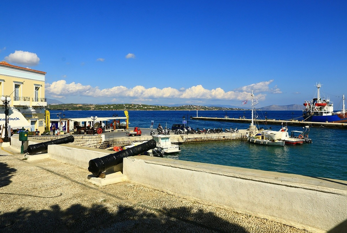 Island of Spetses, in the background the peleponneso...