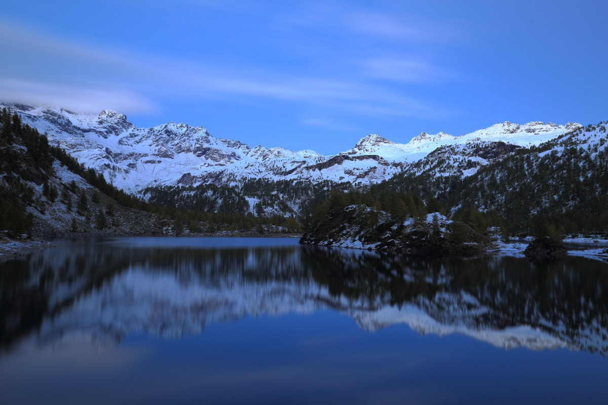 blue hour at the lake Devero...