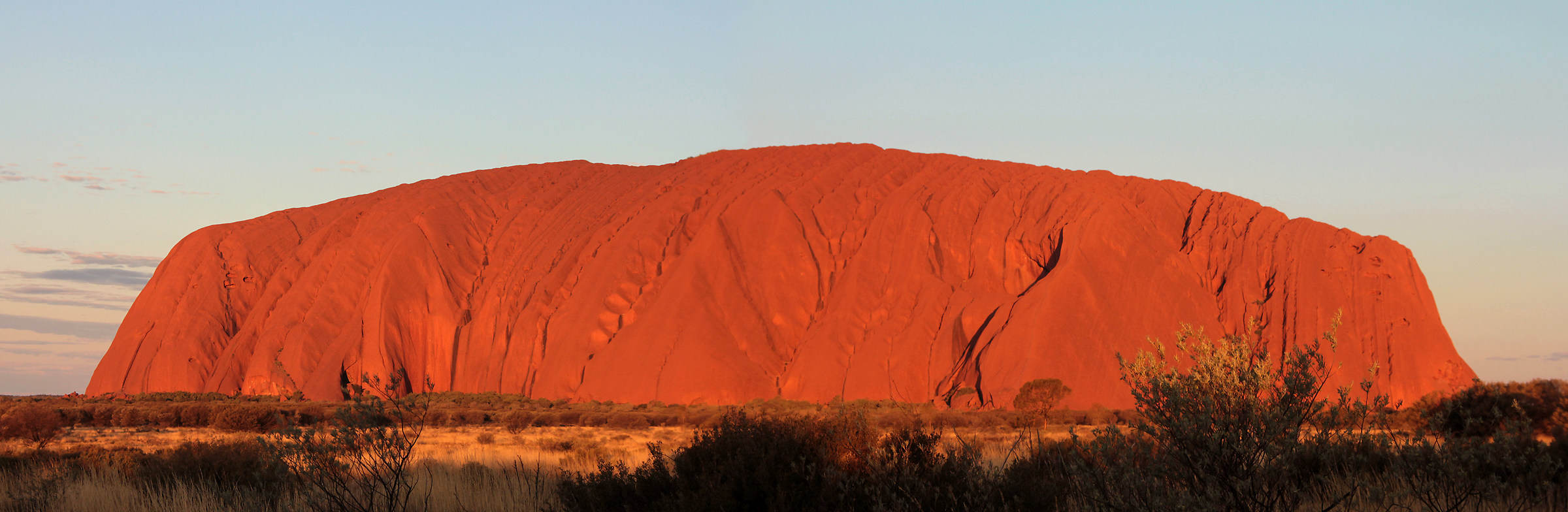 Overview of Uluru at sunset...