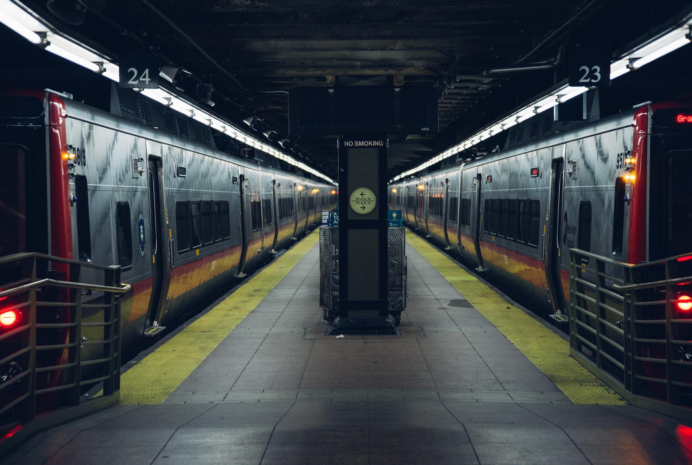 Manhattan, late night train....