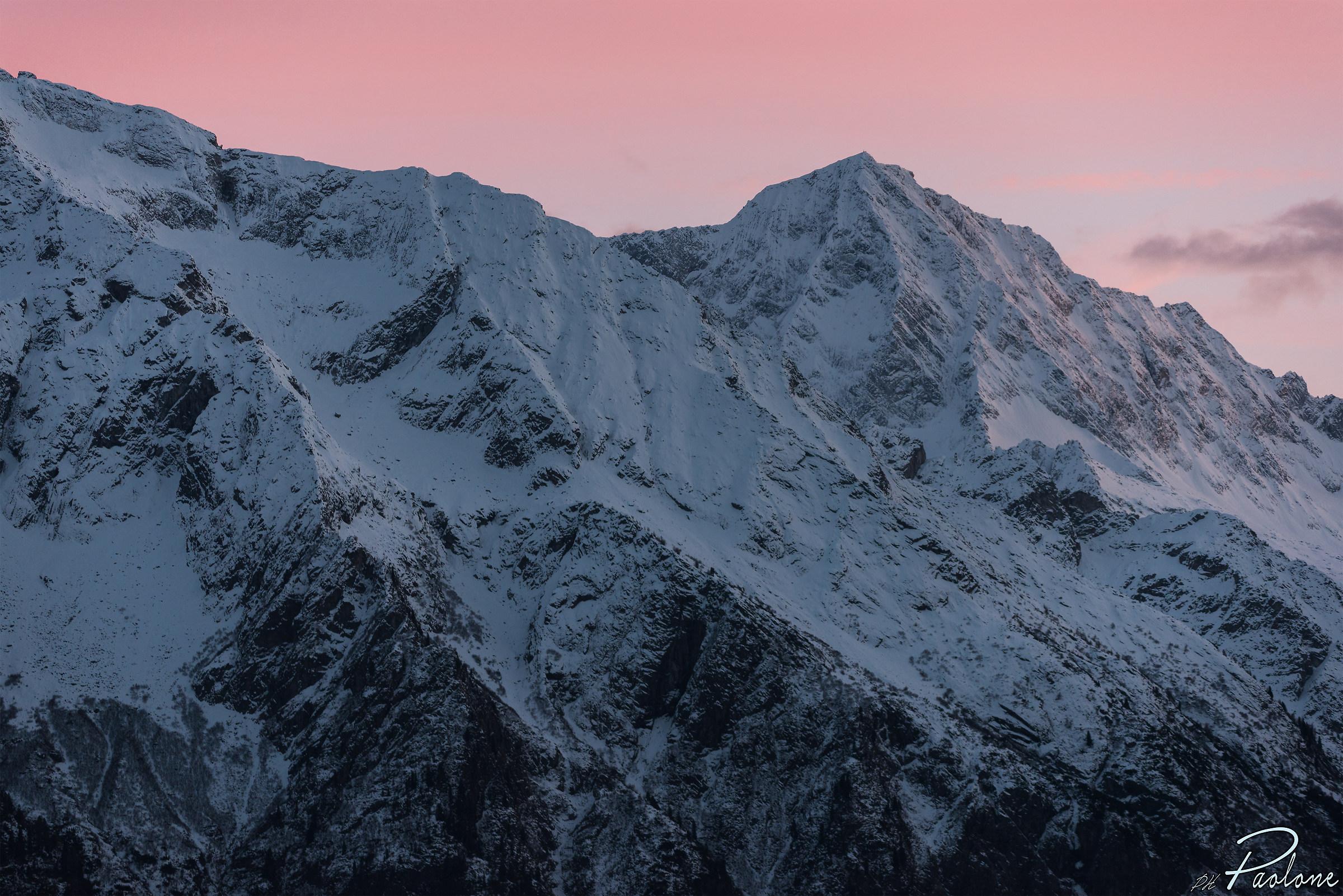 Adamello with rosy sky...