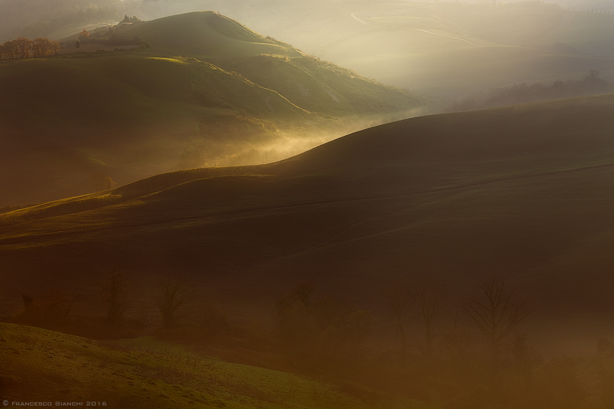 First lights on the hills of Volterra...