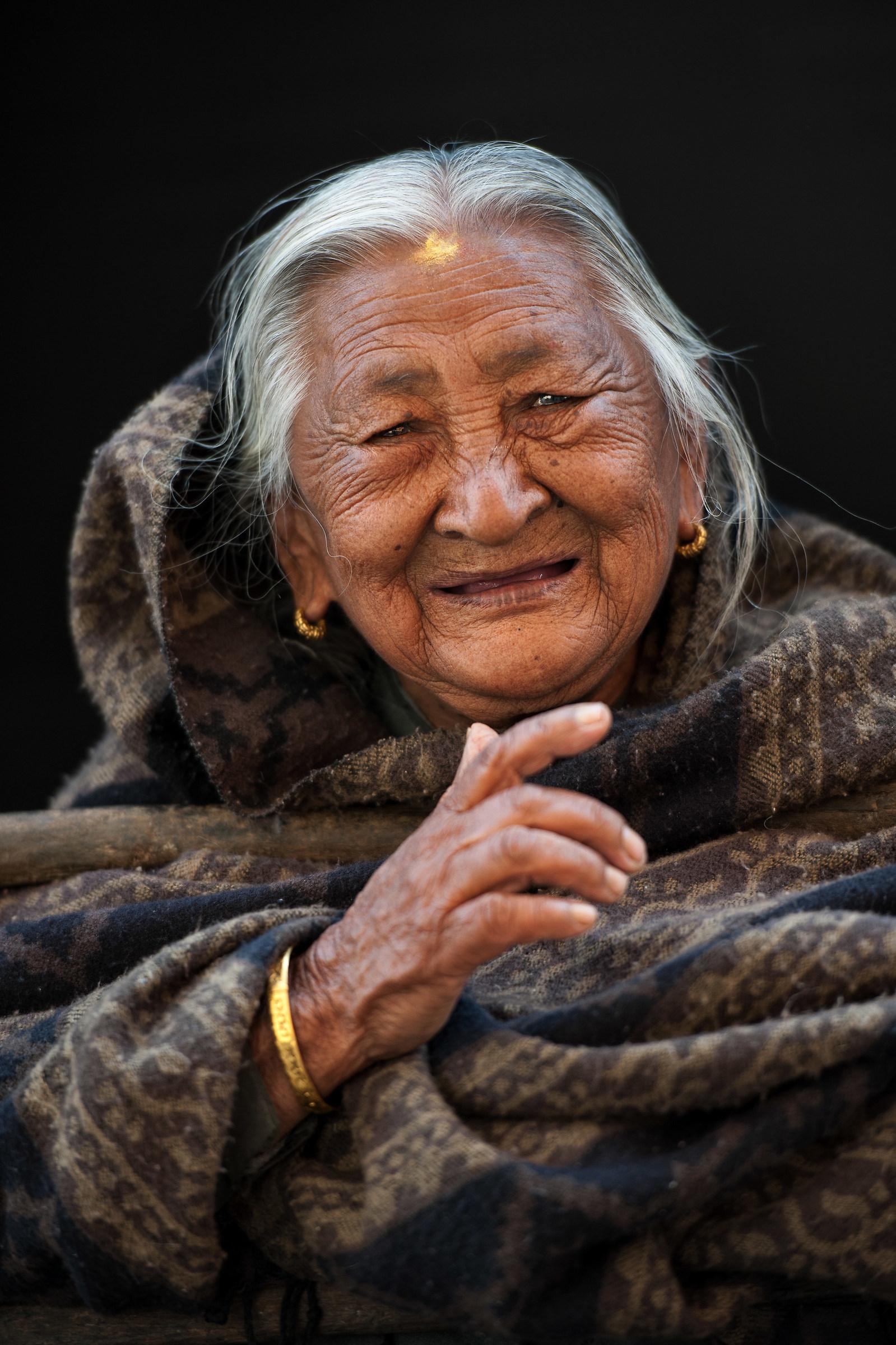 old woman on her balcony - Dhulikhel, Nepal...