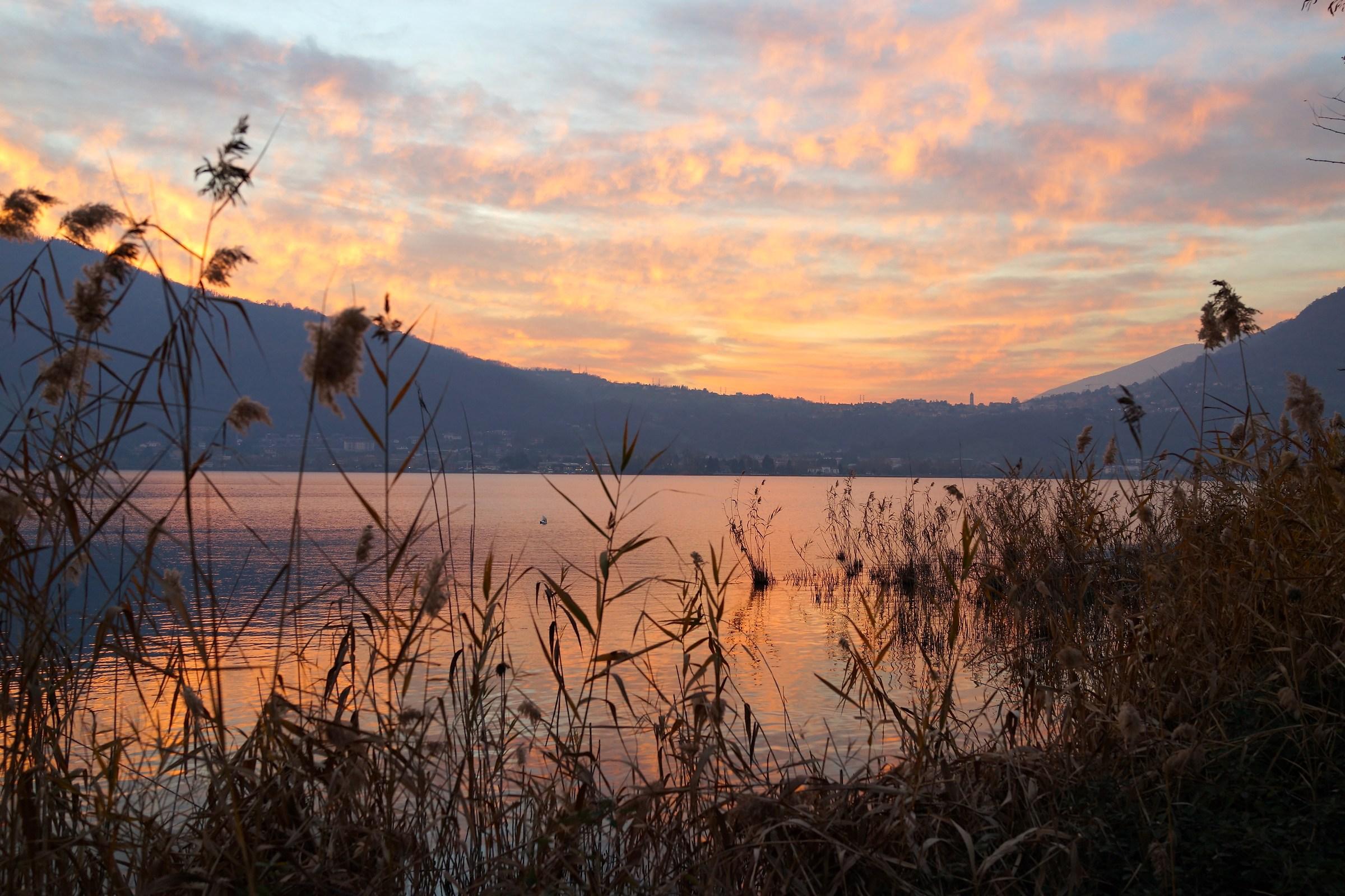 winter sunset 2, Lake Garlate...