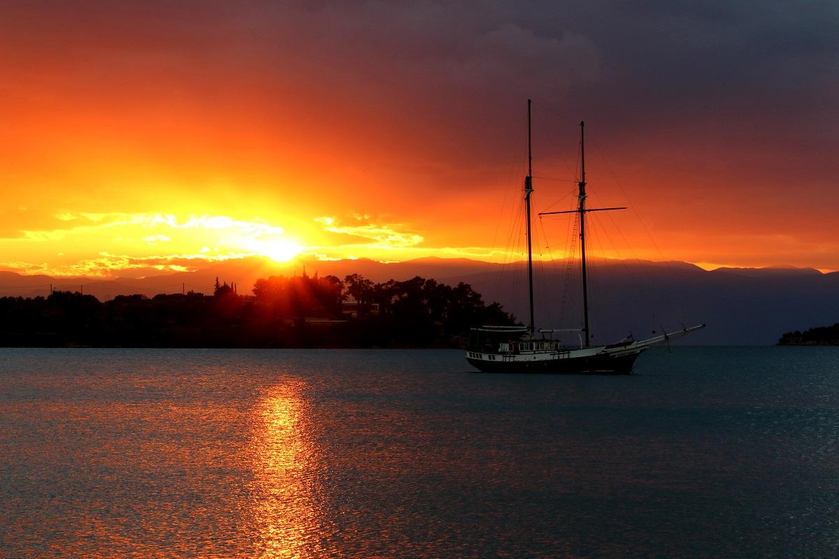 sunset at the port xeli...