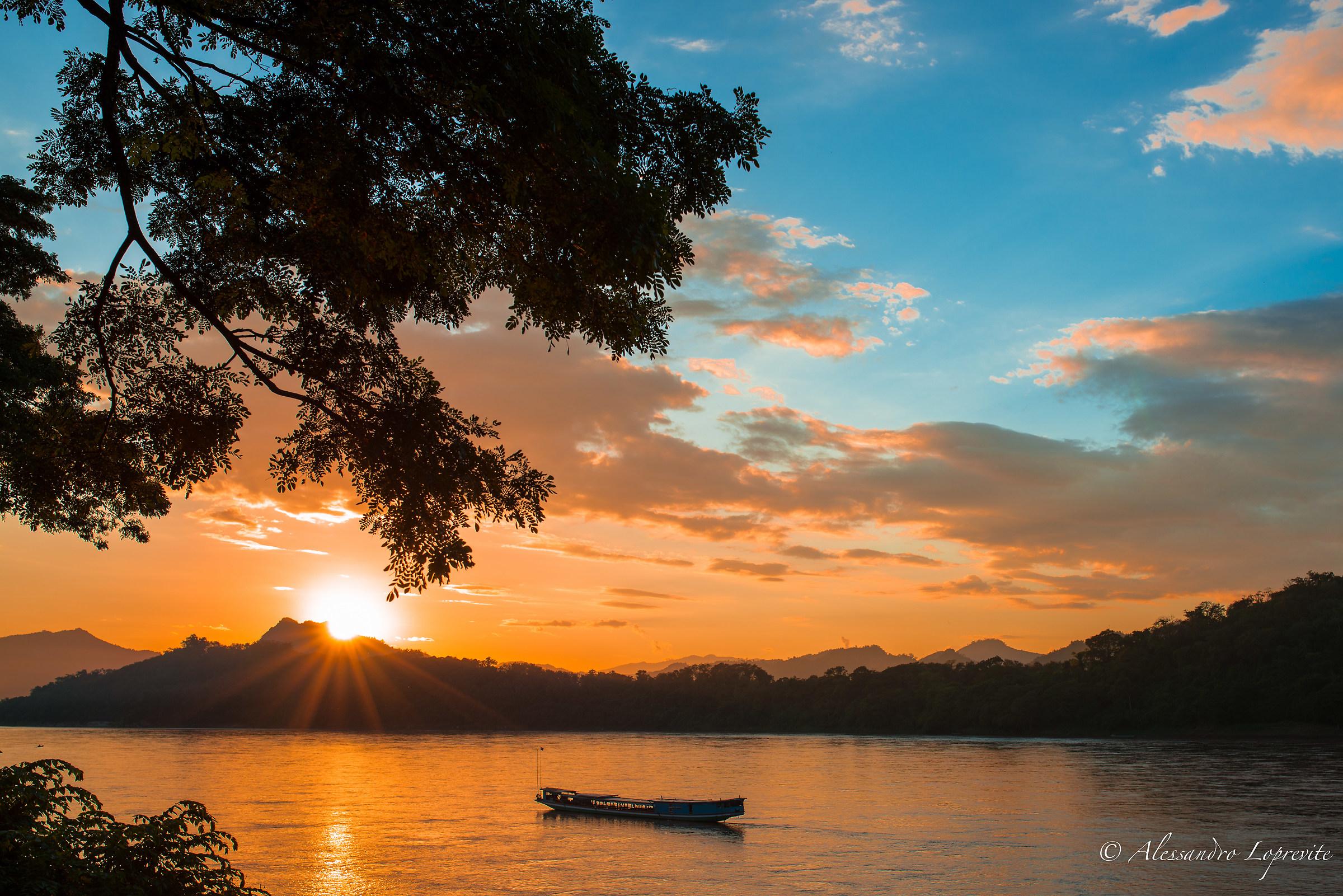 Sunset on the Mekong to Luang Prabang...