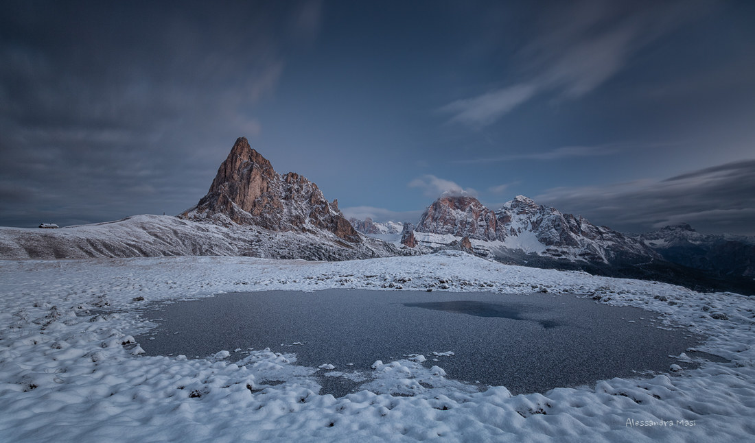 First snow at Passo Giau...