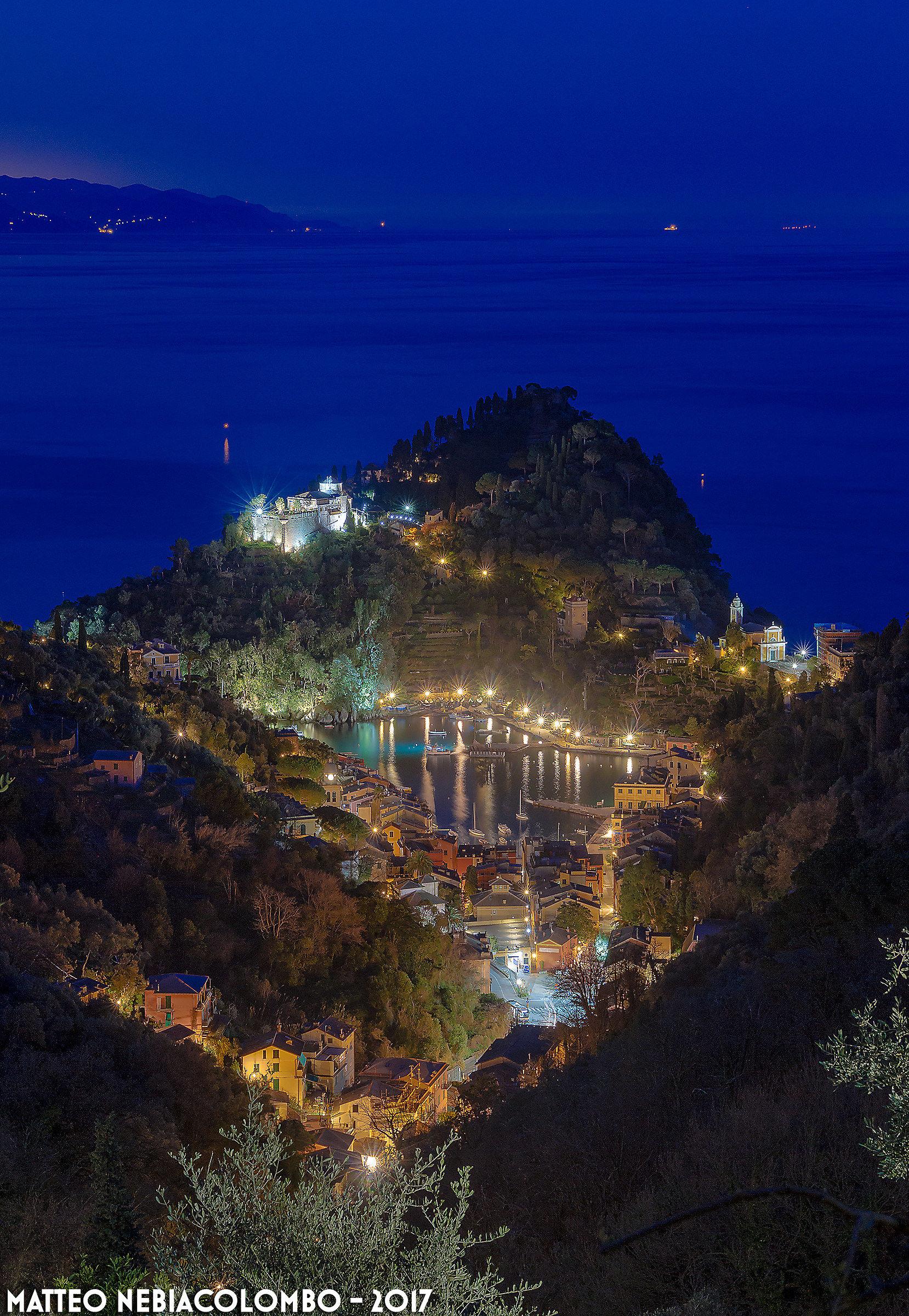 Night falls on Portofino...