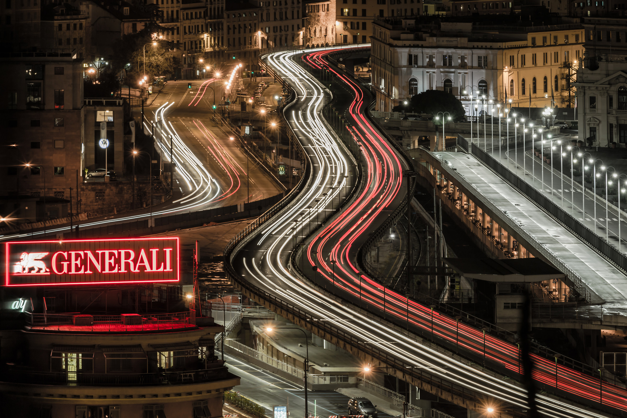 the elevated road in the night...
